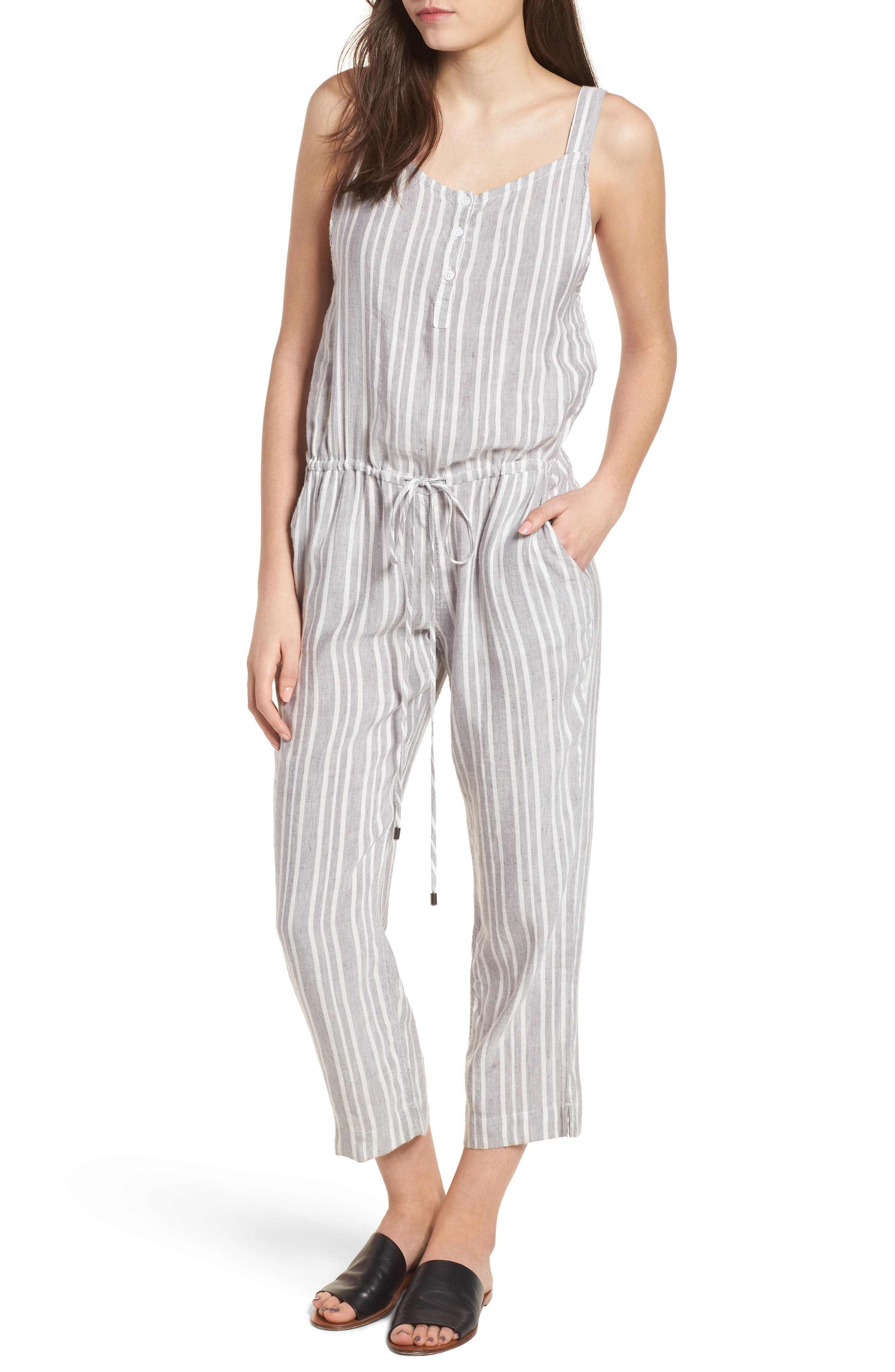 Brooklyn Crop Jumpsuit,                             Main thumbnail 1, color,                             Caldas Stripe
