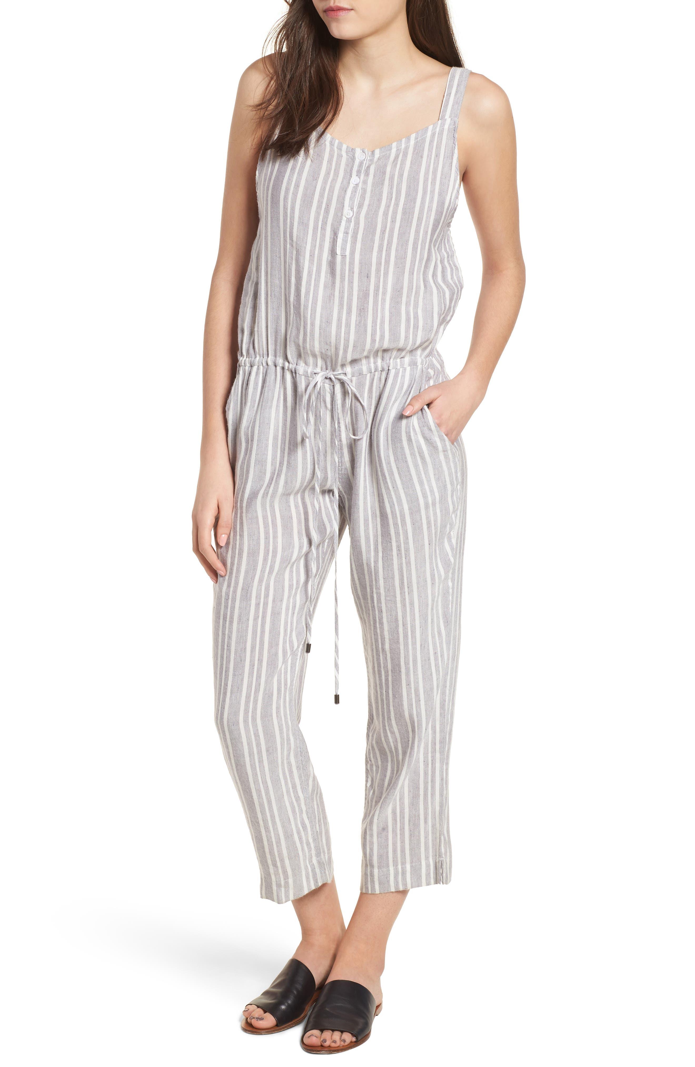 Brooklyn Crop Jumpsuit,                         Main,                         color, Caldas Stripe