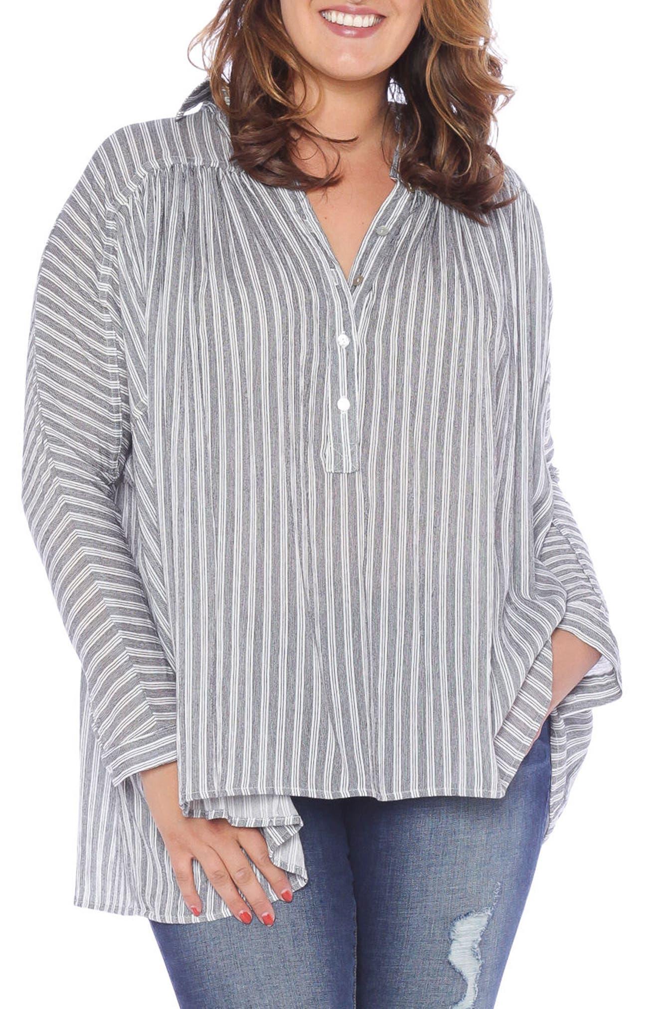 Stripe Babydoll High/Low Top,                         Main,                         color, Black