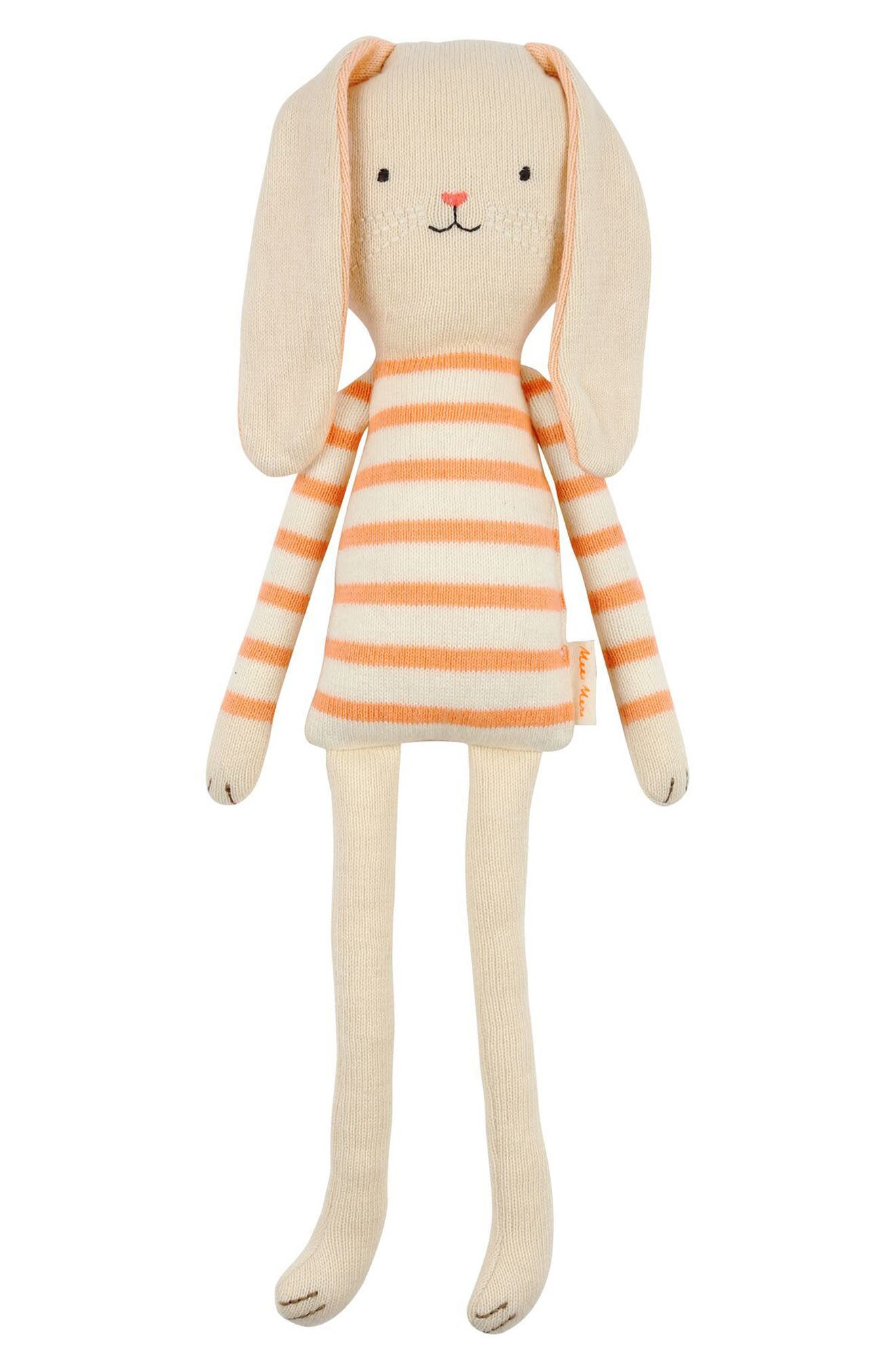 Small Stripe Sweater Organic Cotton Knit Bunny,                             Main thumbnail 1, color,                             Coral