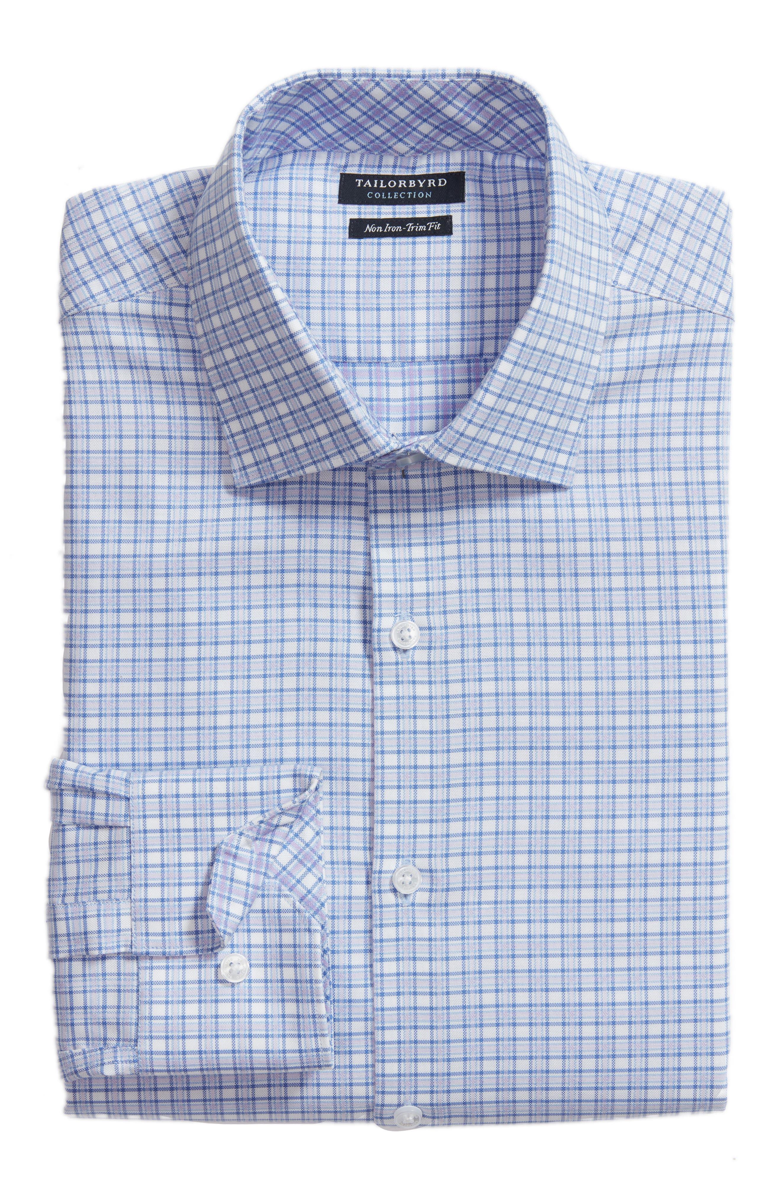 Nas Trim Fit Plaid Dress Shirt,                             Alternate thumbnail 6, color,                             Royal