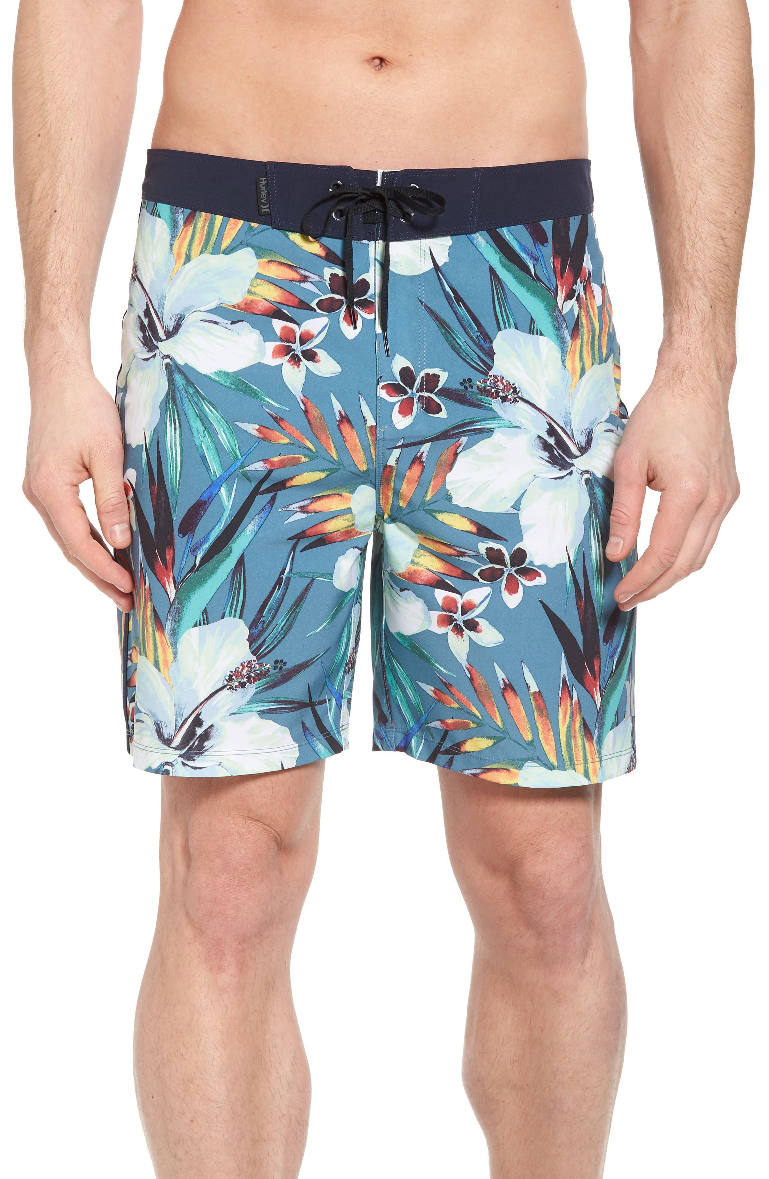 Phantom Garden Board Shorts,                         Main,                         color, Noise Aqua