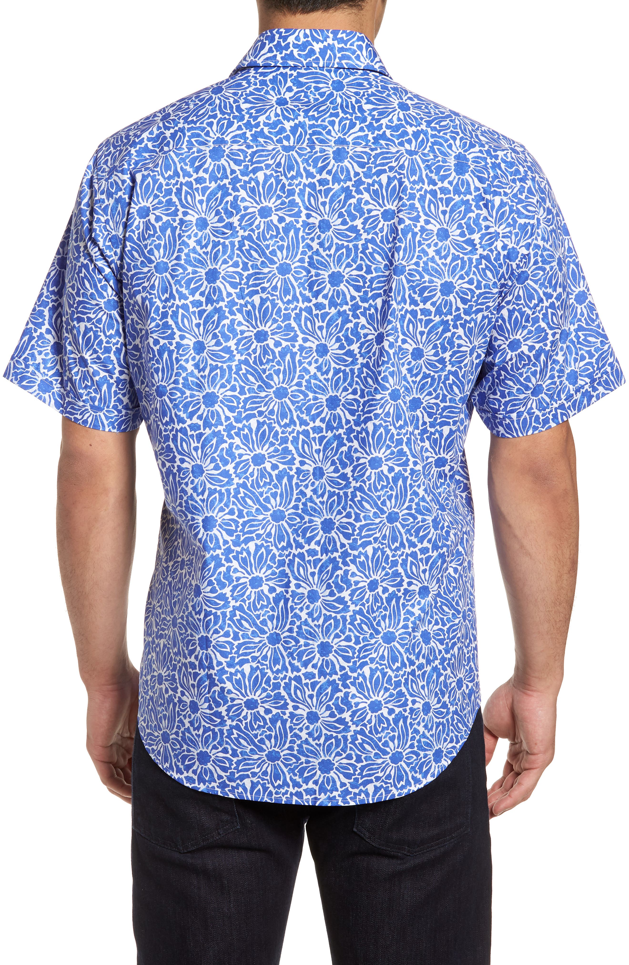 Classic Fit Floral Sport Shirt,                             Alternate thumbnail 2, color,                             Royal