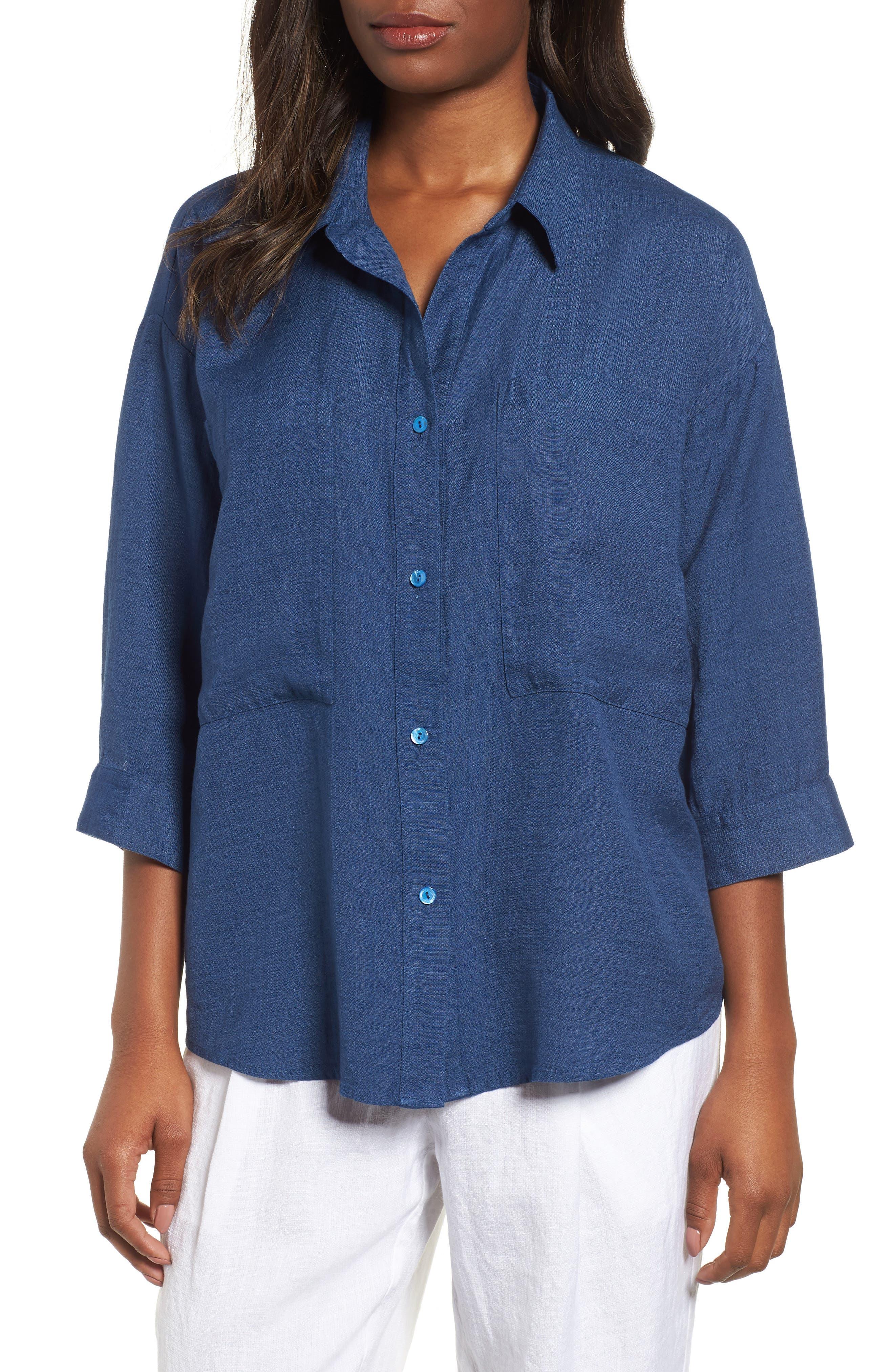 Eileen Fisher Woven Linen Blend Blouse (Regular & Petite)