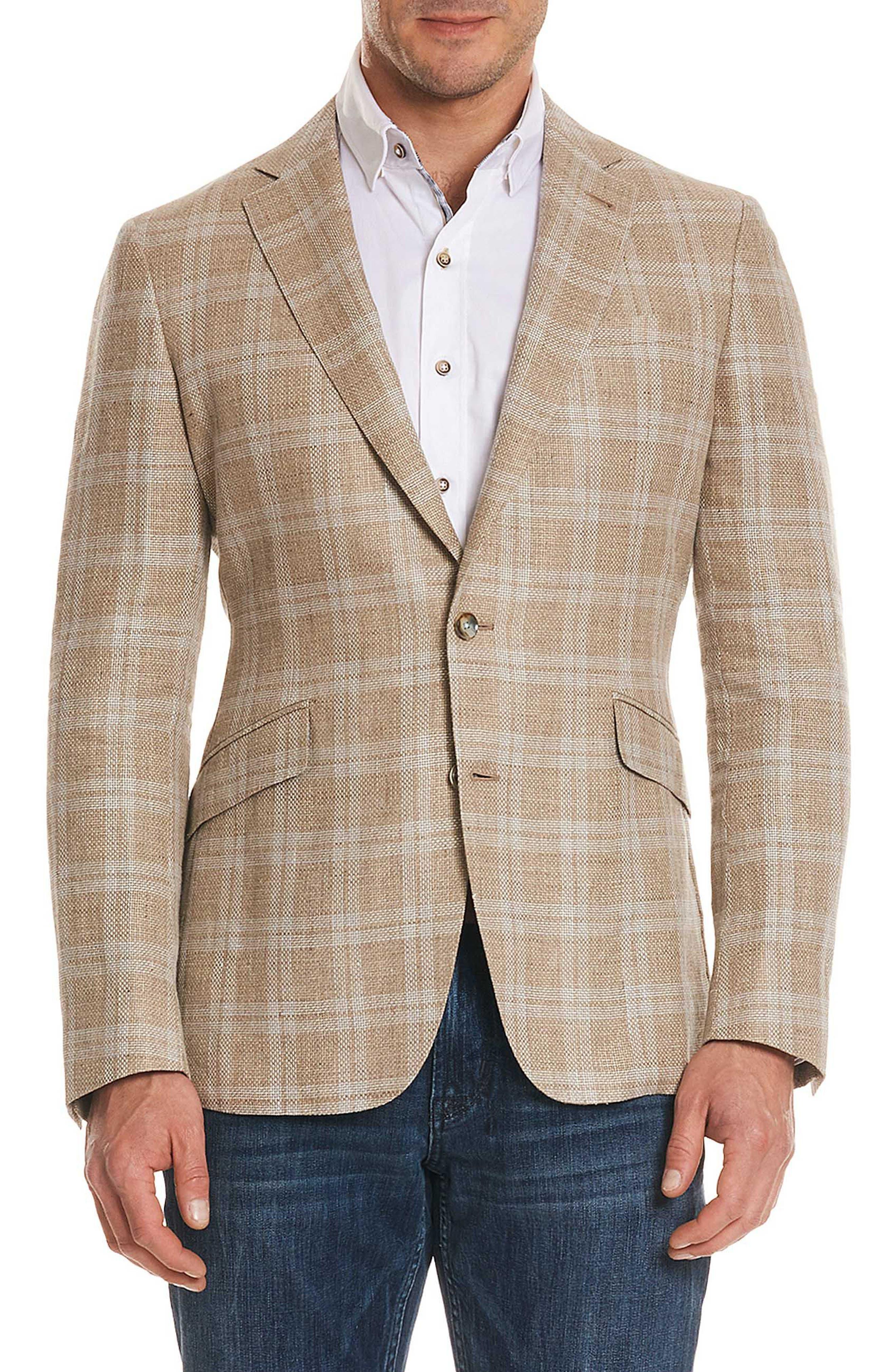 Robert Graham Tailored Fit Plaid Linen Blend Sport Coat