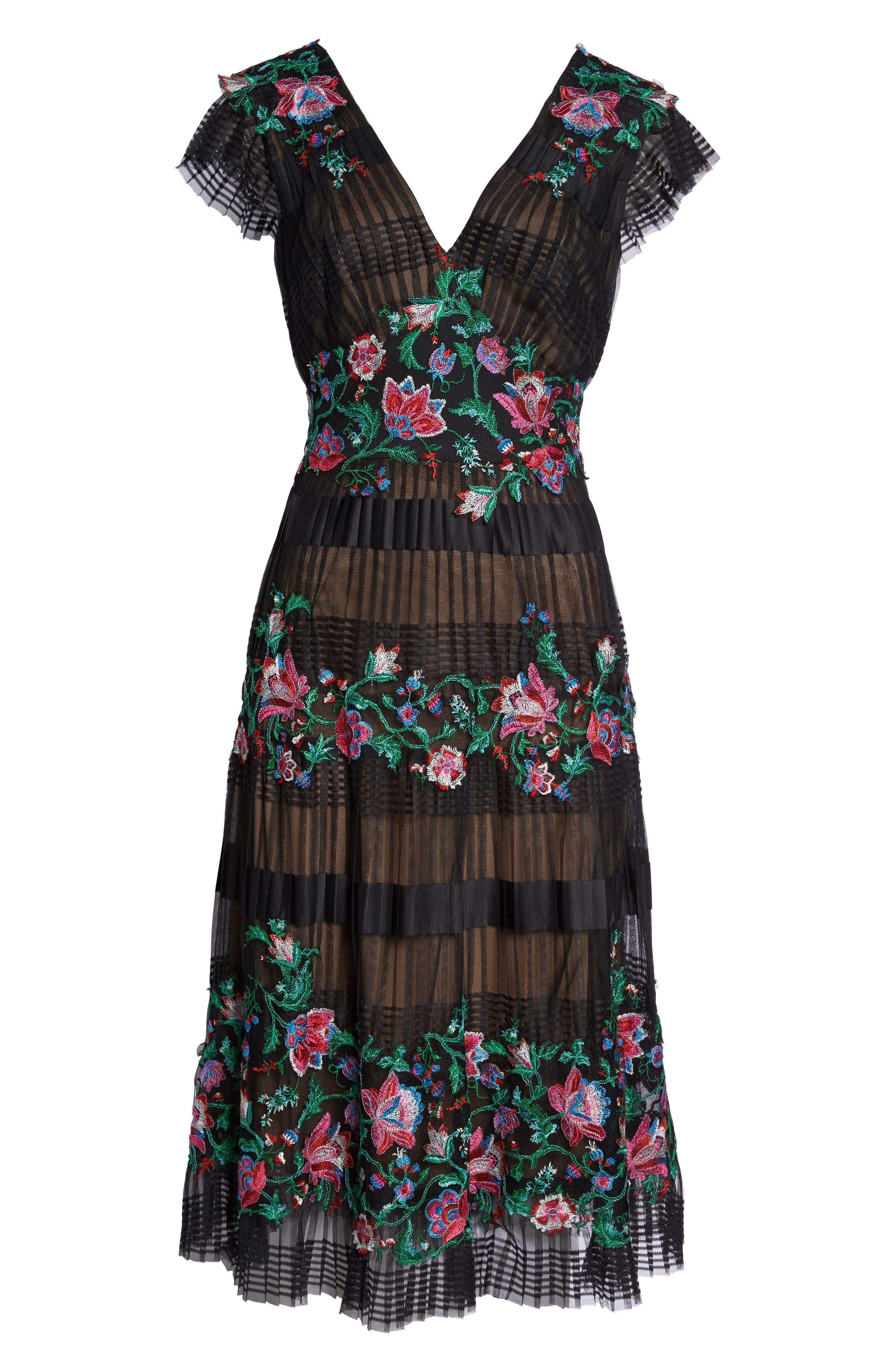 Embroidered Pleat Tulle Midi Dress,                             Alternate thumbnail 6, color,                             Black Dahlia