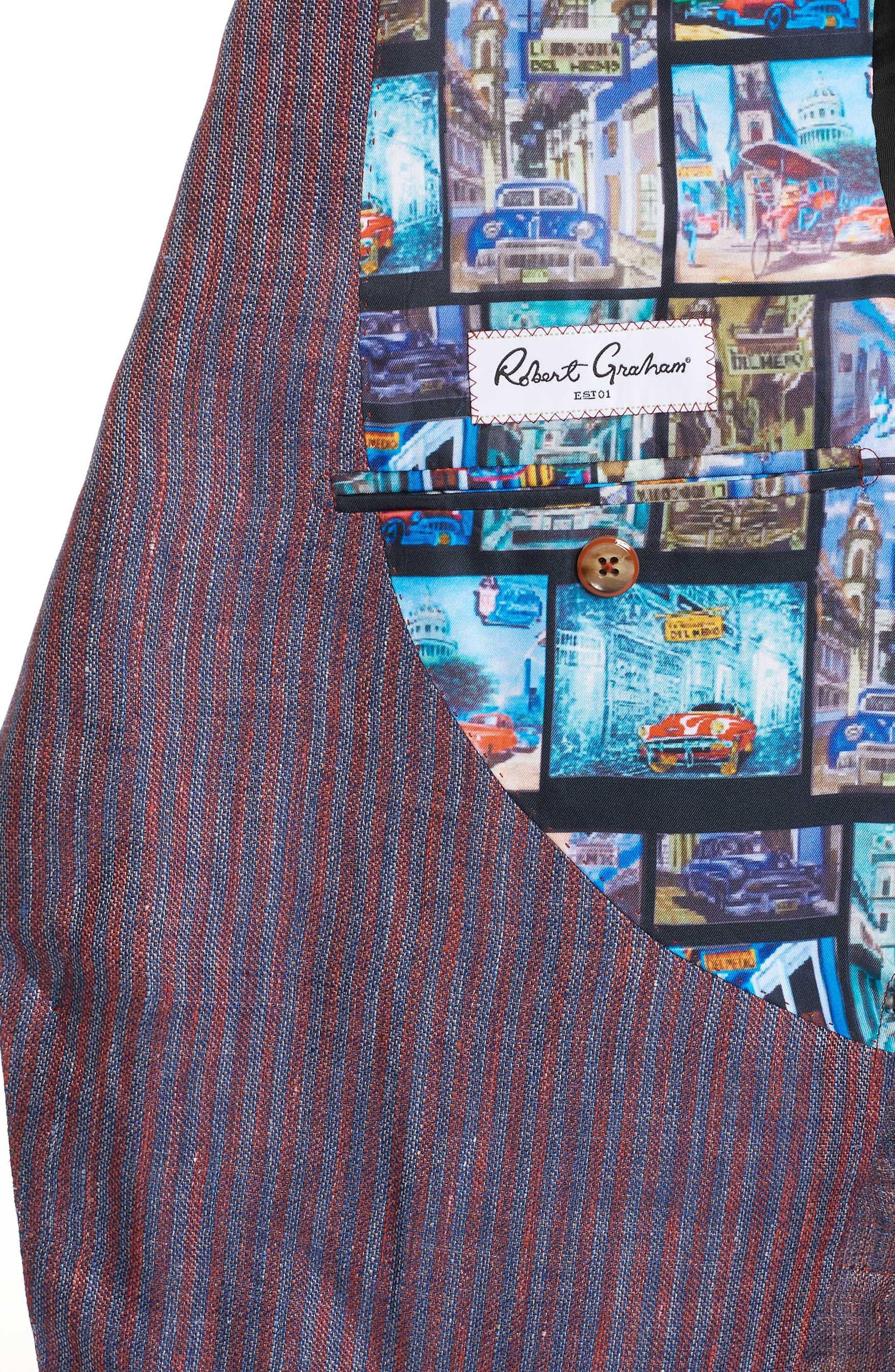 Corbett Tailored Fit Stripe Linen Sport Coat,                             Alternate thumbnail 3, color,                             Berry