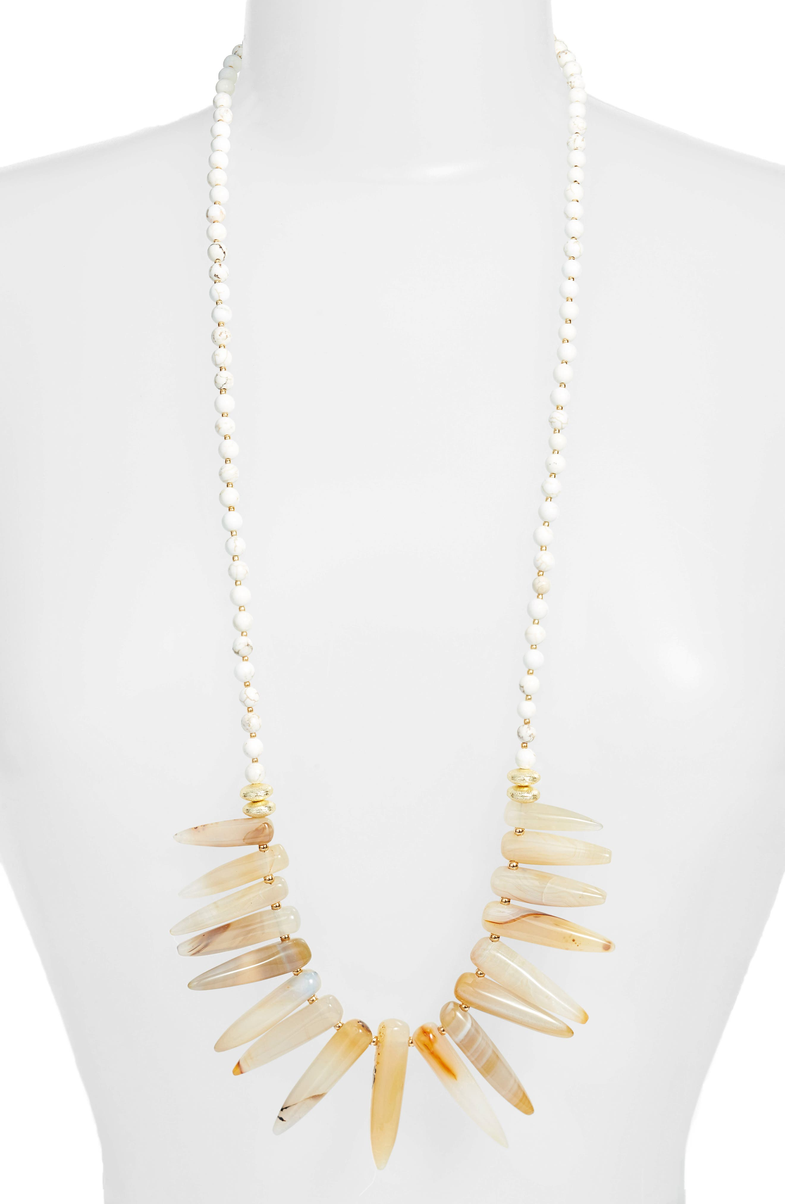 Love's Affect Marley Semiprecious Stone Spike Necklace,                             Main thumbnail 1, color,                             White