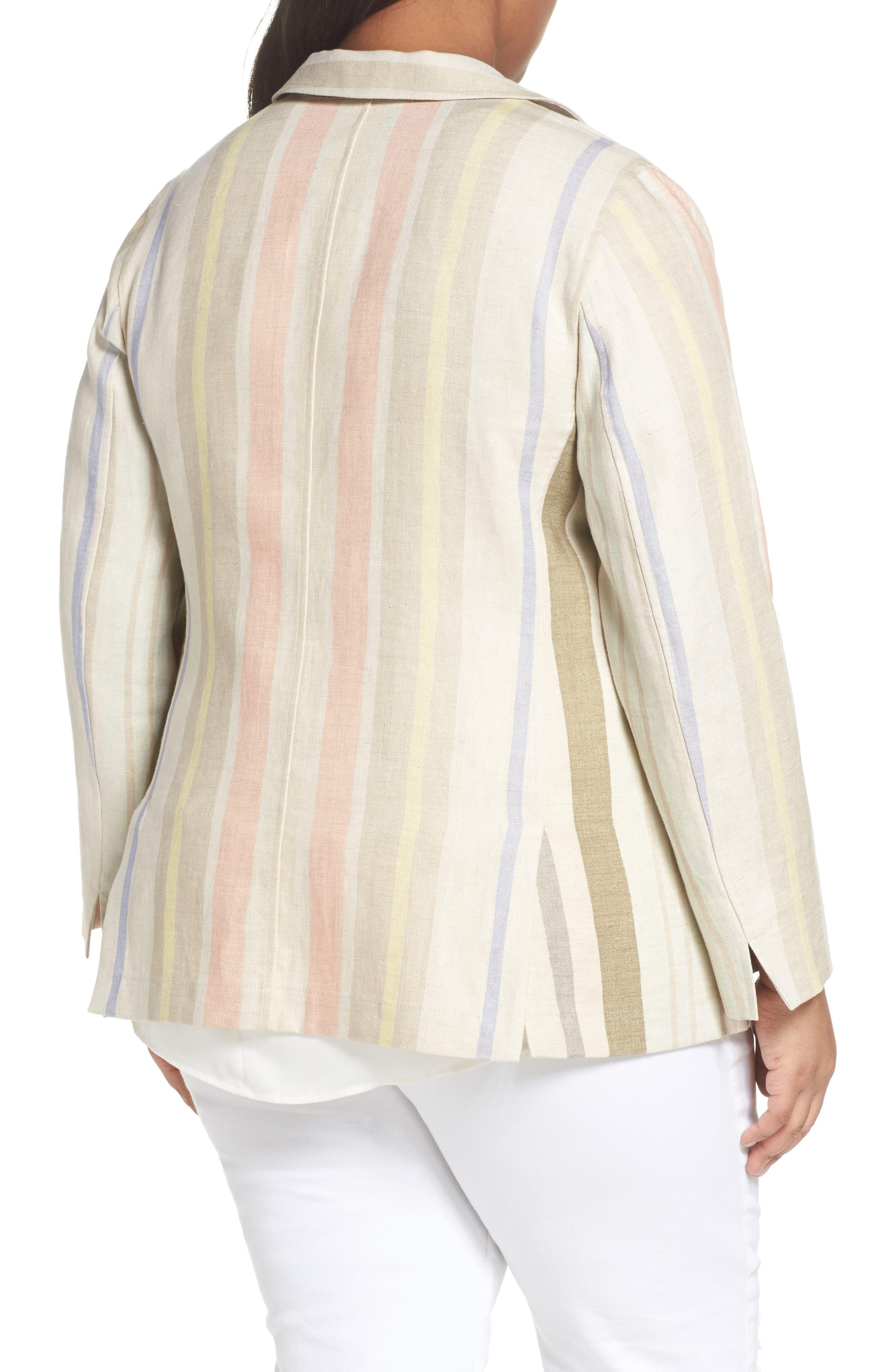 Marie Stripe Linen Jacket,                             Alternate thumbnail 2, color,                             Raffia Multi