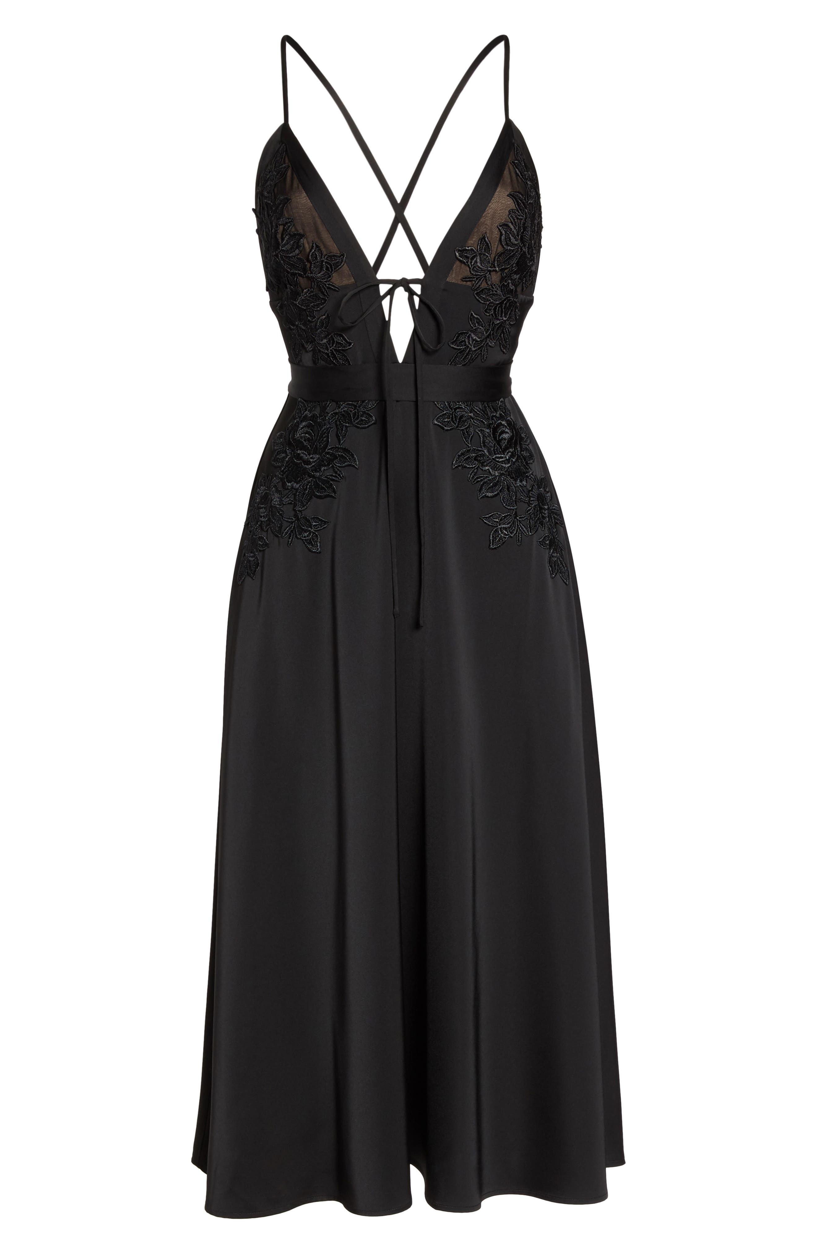 Rhea Floral Appliqué A-Line Dress,                             Alternate thumbnail 6, color,                             Black Multi