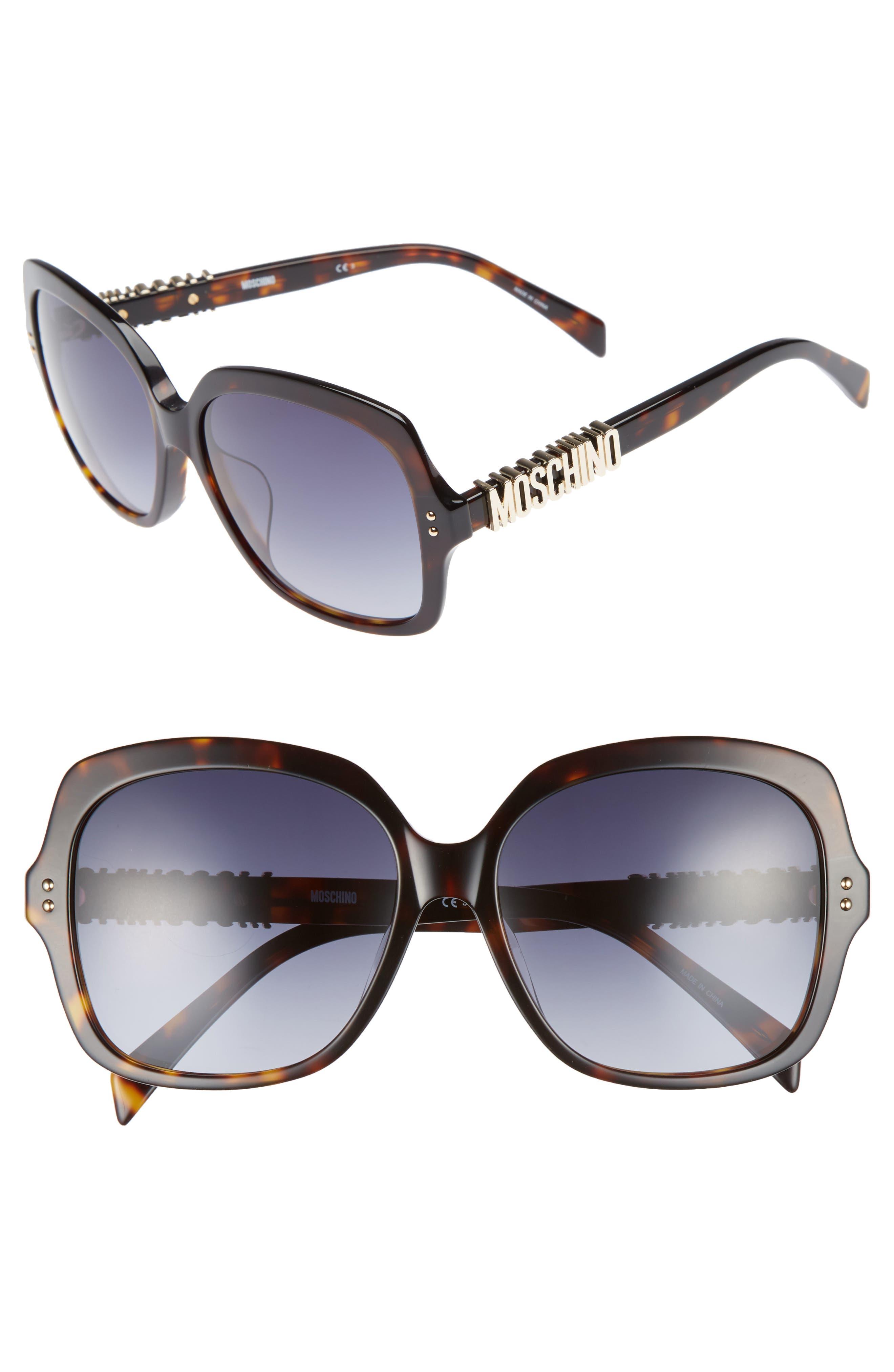 57mm Oversized Polarized Sunglasses,                             Main thumbnail 1, color,                             Dark Havana