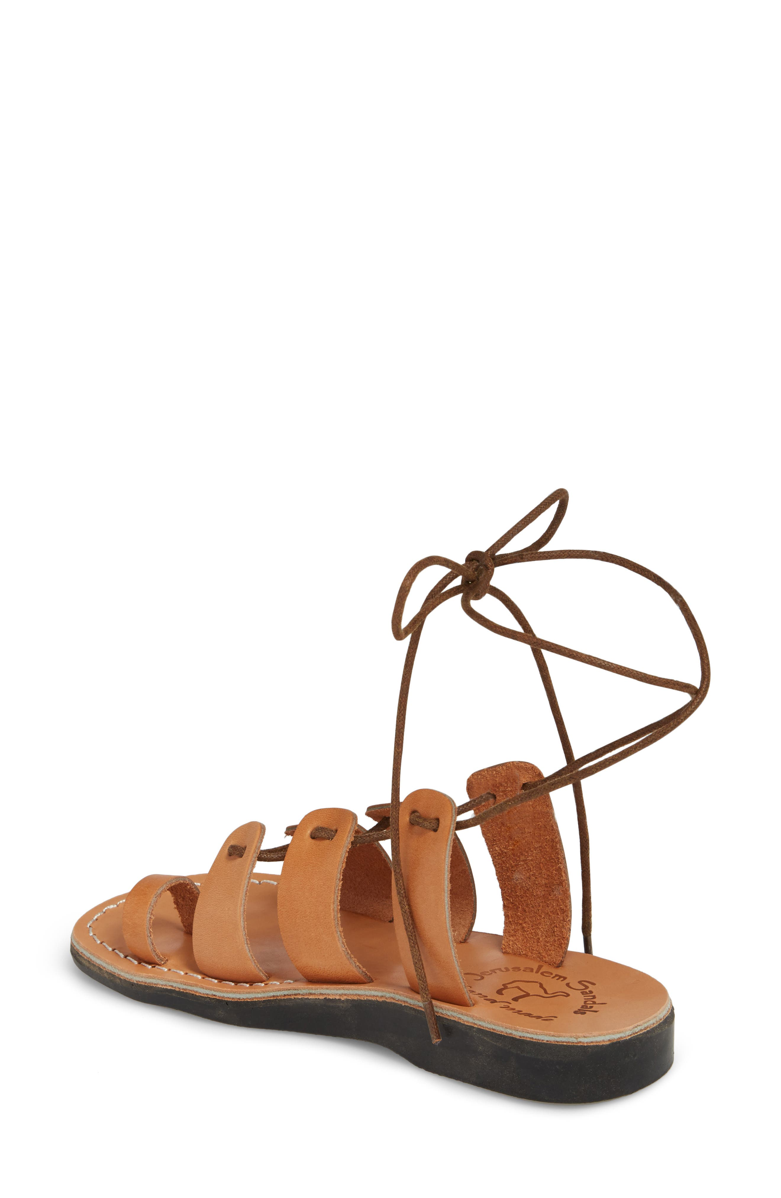 Deborah Wraparound Laces Sandal,                             Alternate thumbnail 2, color,                             Tan Leather