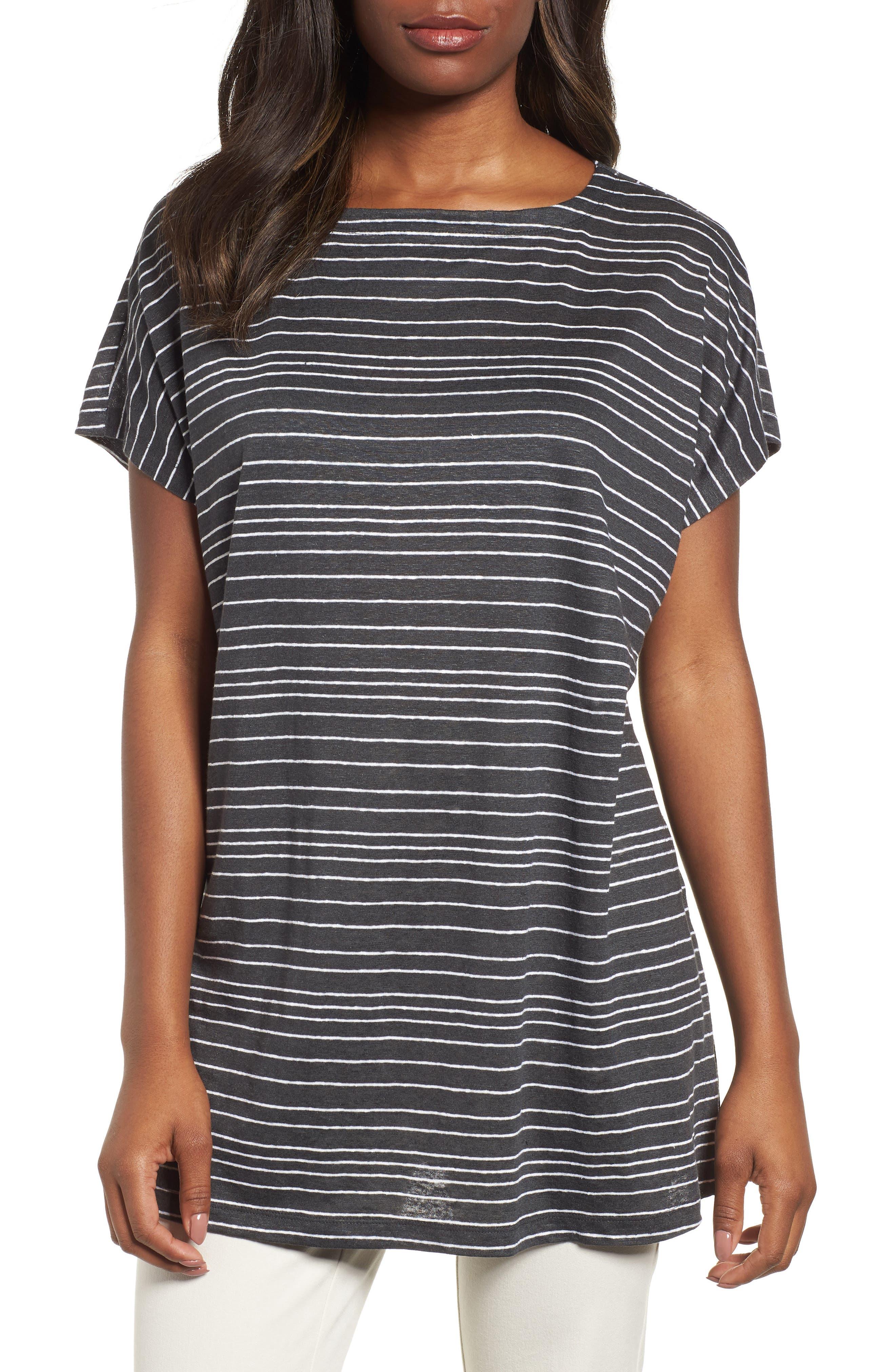 Stripe Organic Linen Tunic,                             Main thumbnail 1, color,                             Graphite