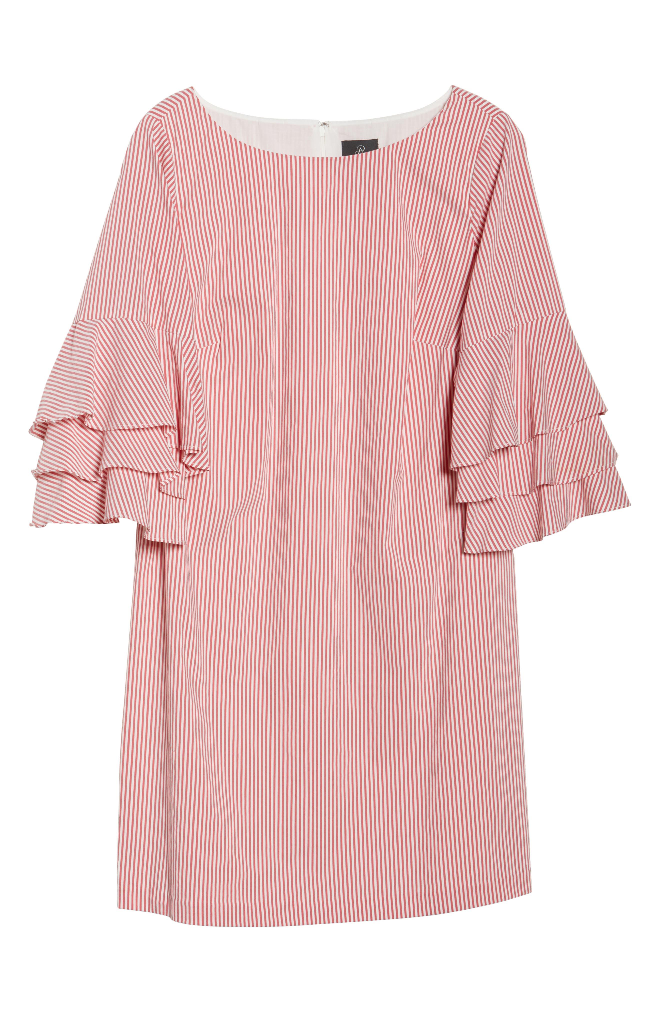 Ruffle Sleeve Stripe Shift Dress,                             Alternate thumbnail 6, color,                             Red/ White