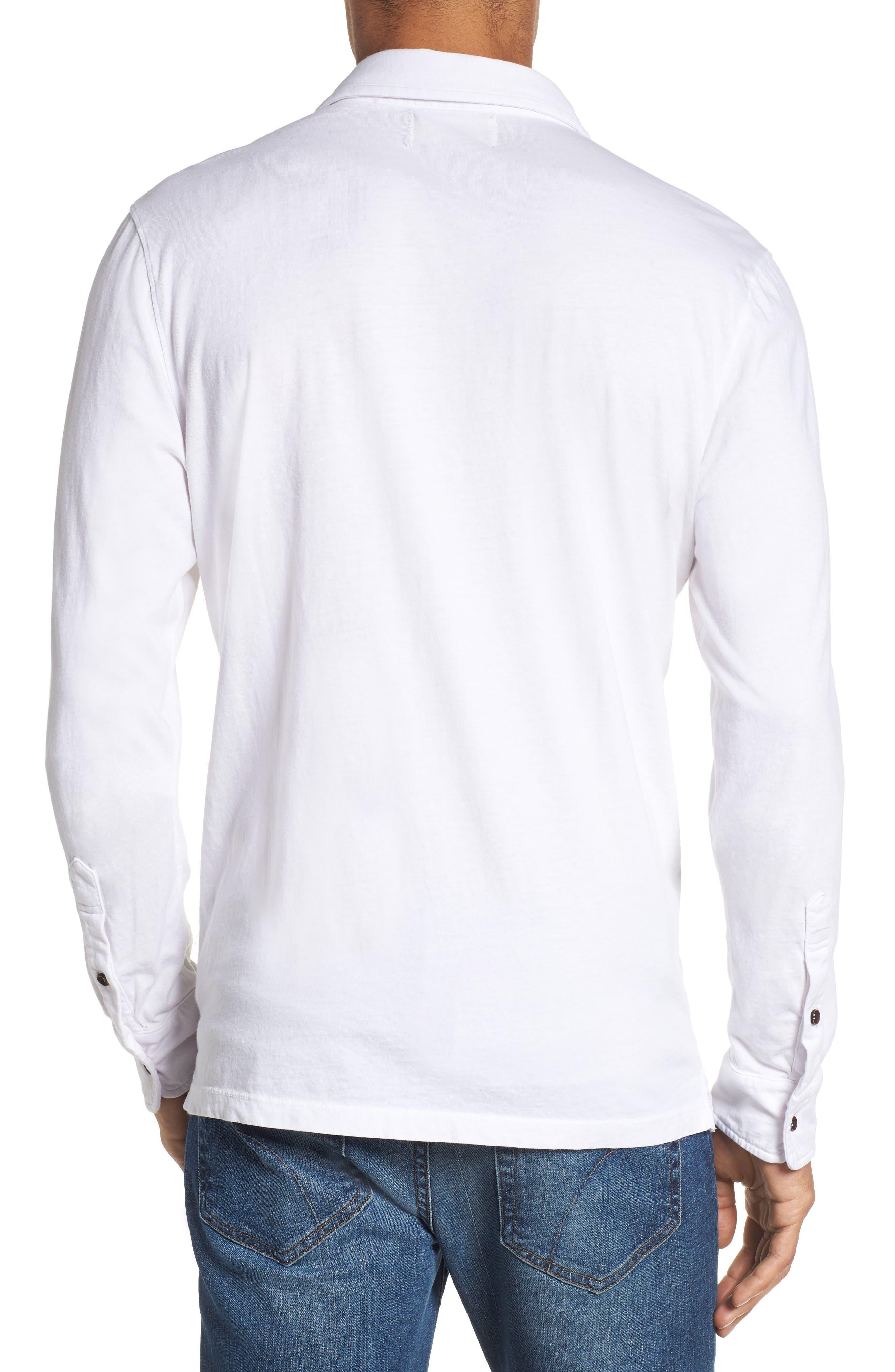 Long Sleeve Jersey Polo,                             Alternate thumbnail 2, color,                             White