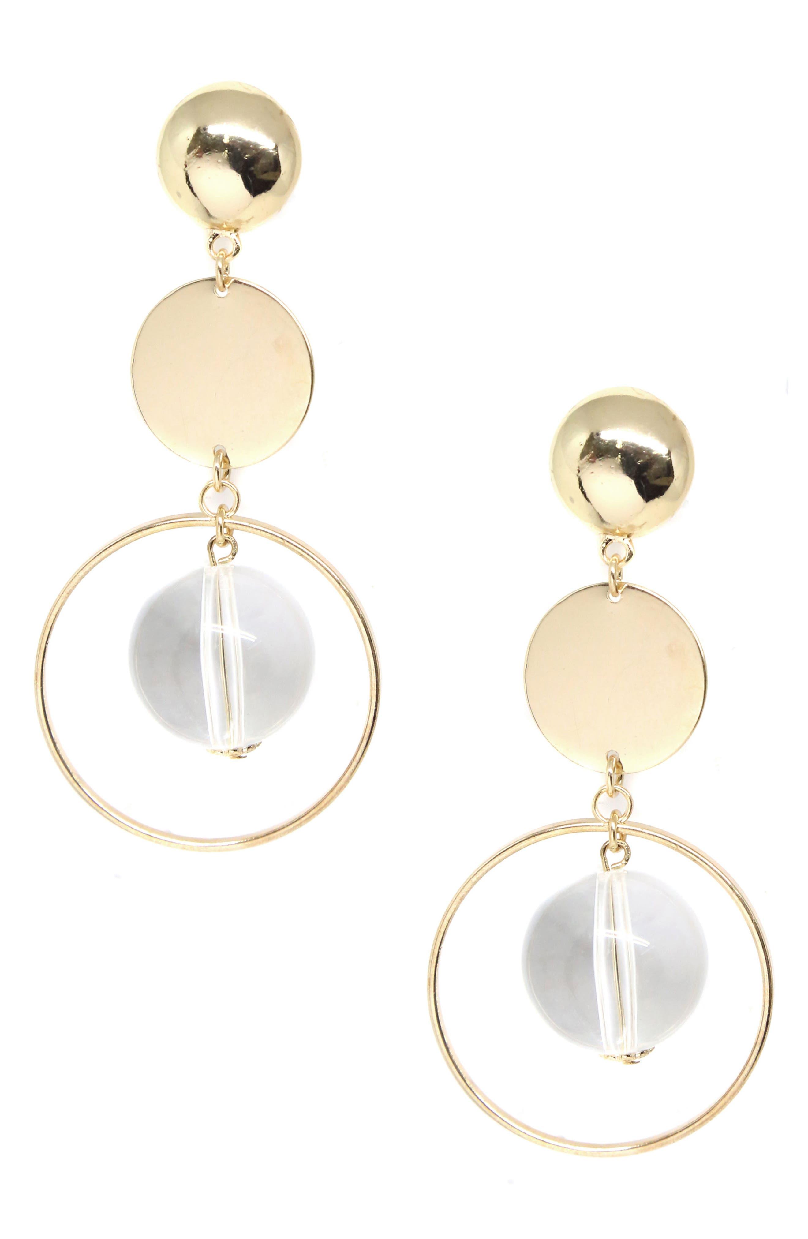 Metal Disc Earrings,                         Main,                         color, Gold
