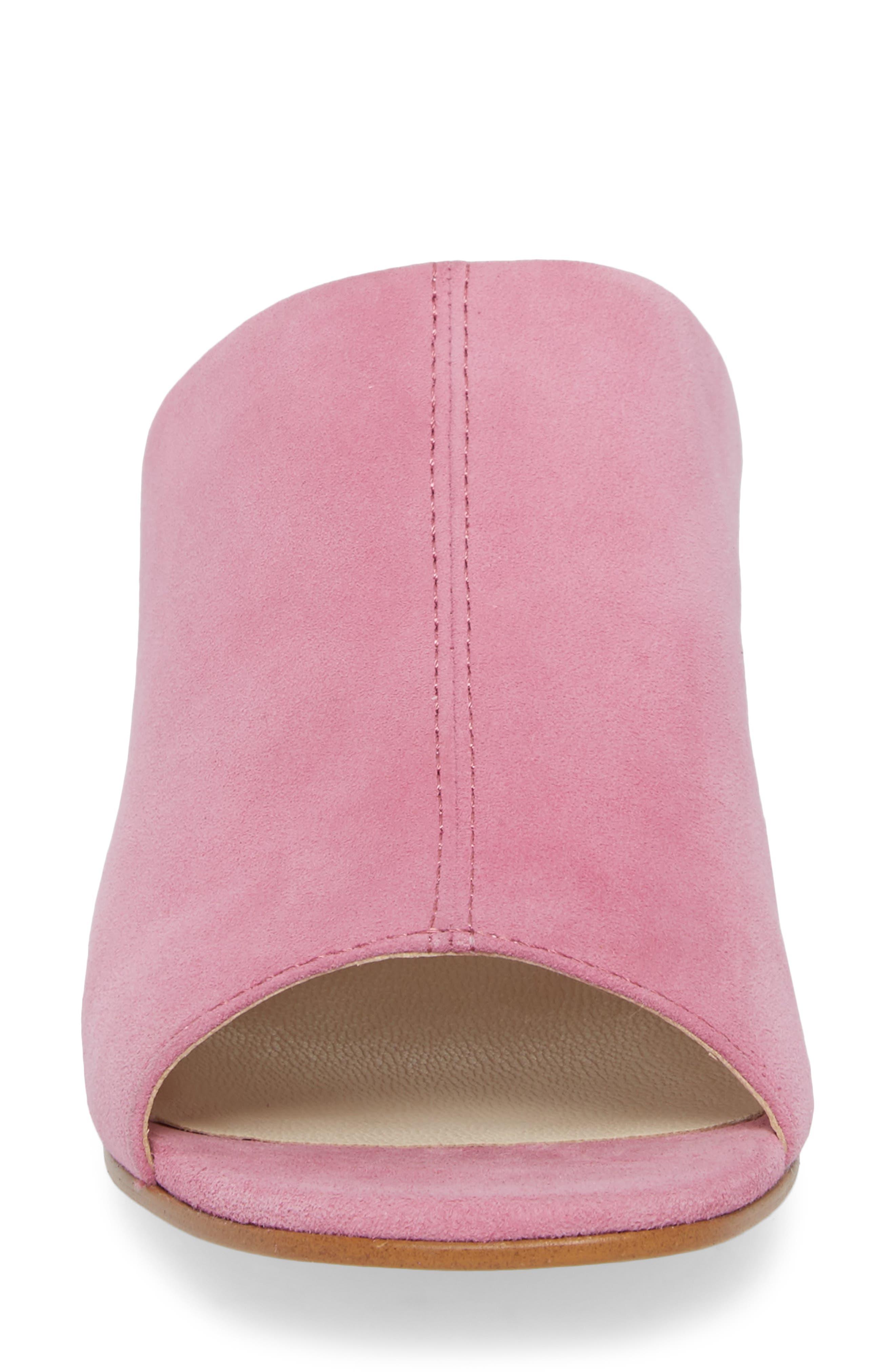 Saide Slide Sandal,                             Alternate thumbnail 4, color,                             Pink Suede