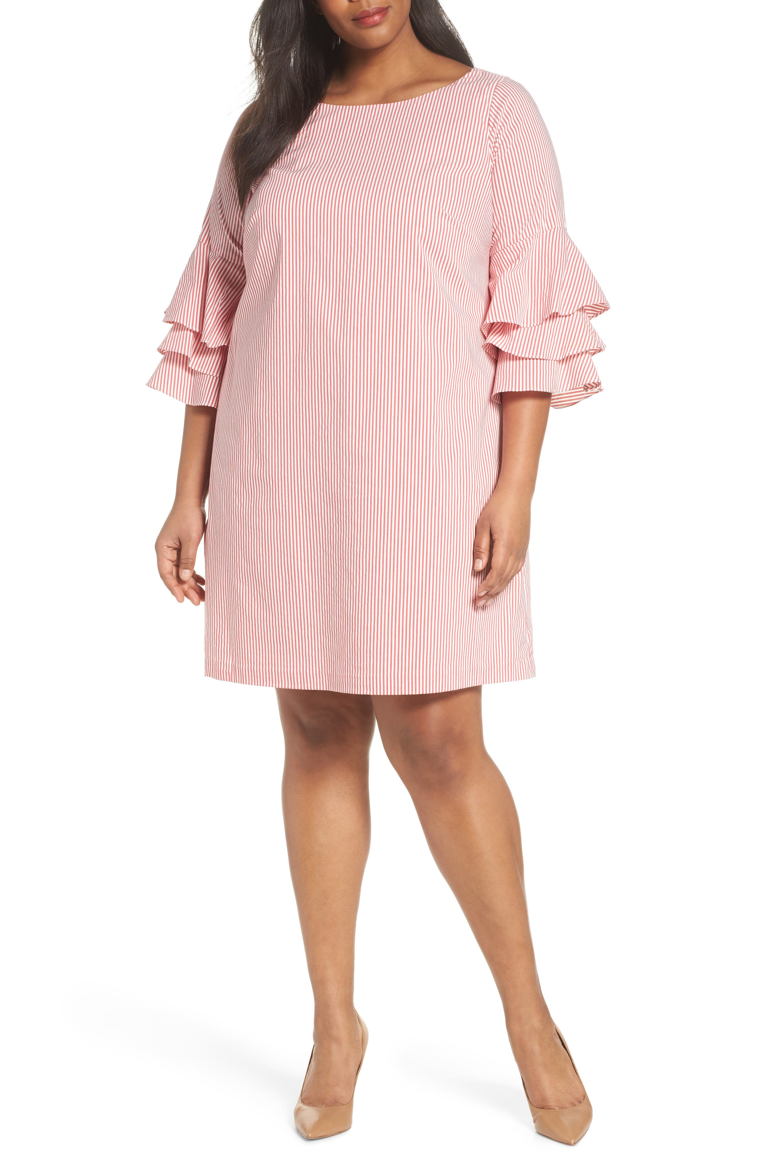 Ruffle Sleeve Stripe Shift Dress,                             Main thumbnail 1, color,                             Red/ White