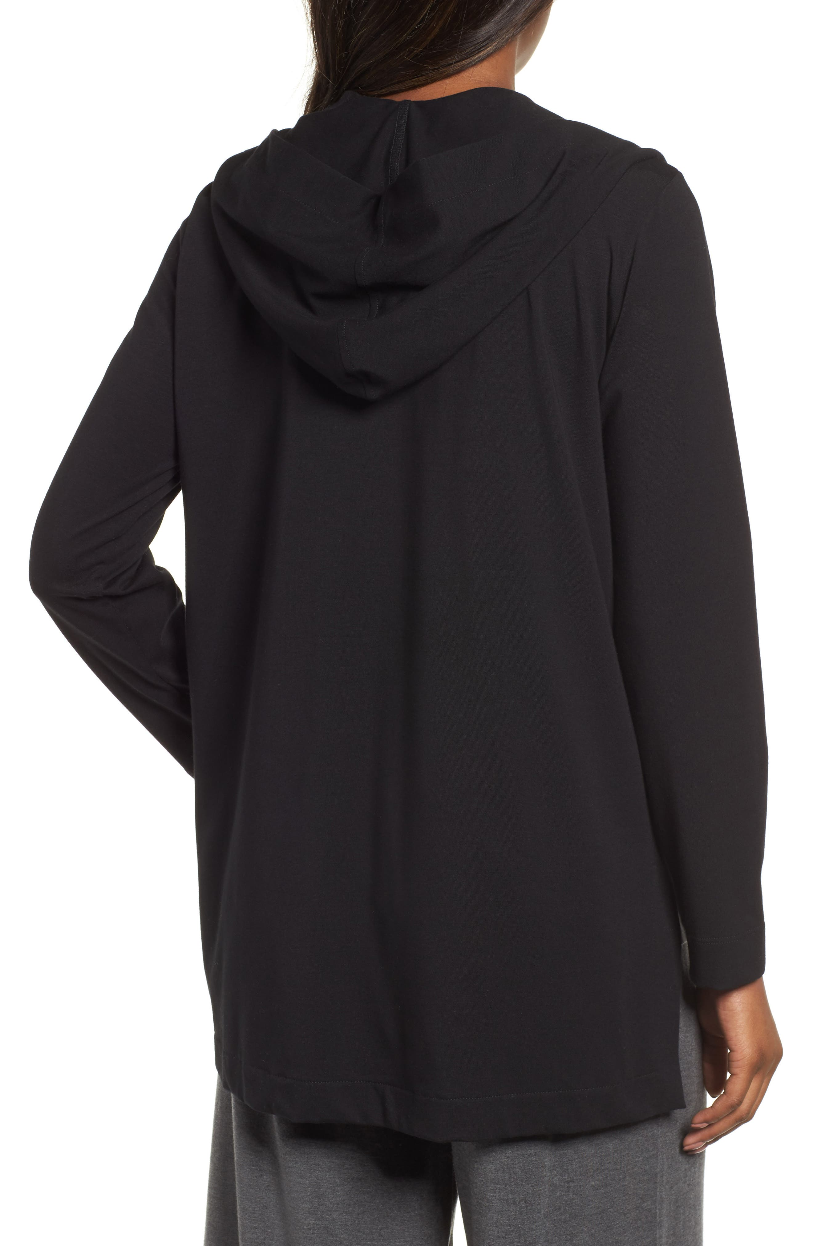 Stretch Organic Cotton Hooded Cardigan,                             Alternate thumbnail 2, color,                             Black