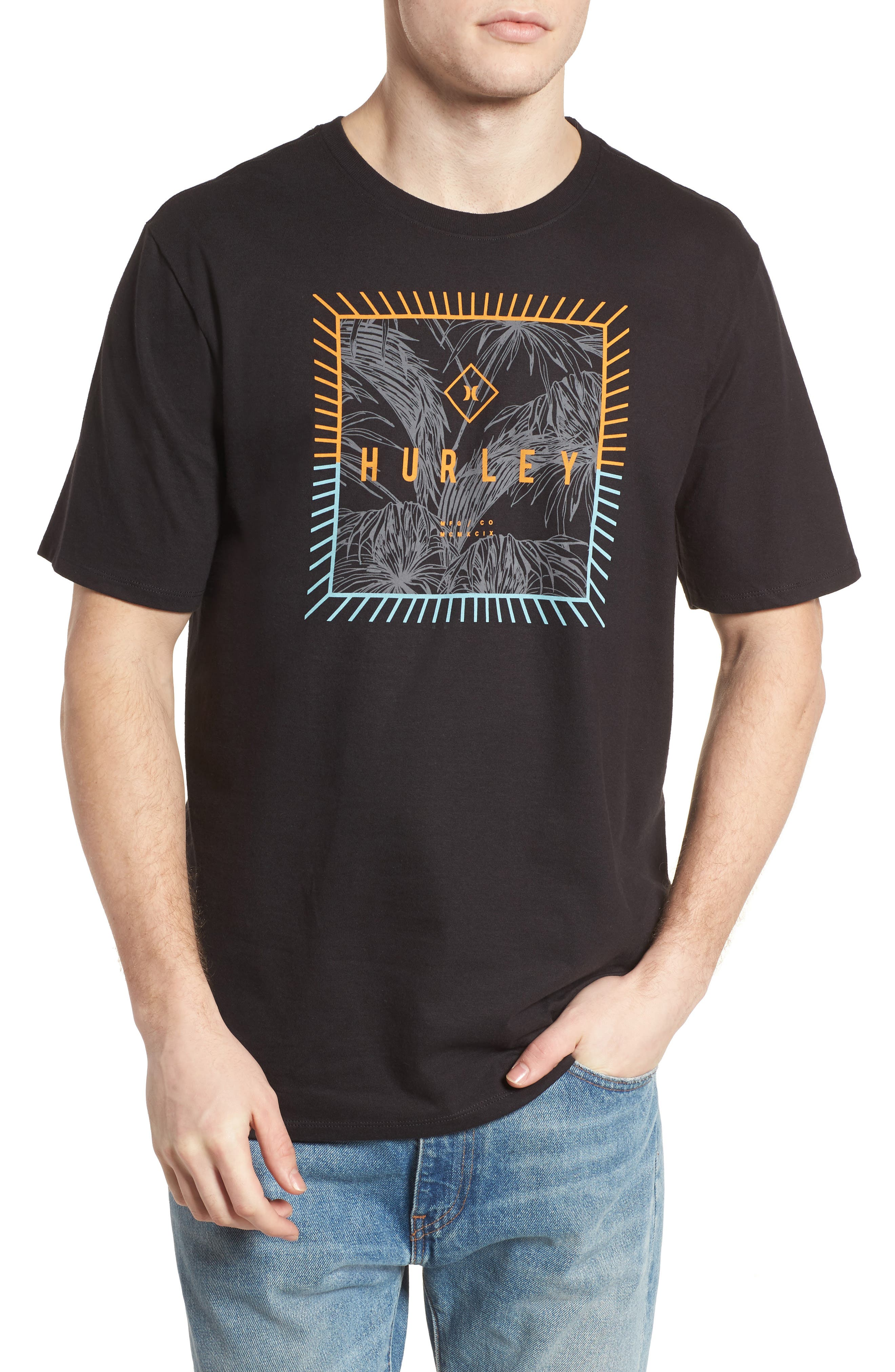 Be Fronds T-Shirt,                             Main thumbnail 1, color,                             Black