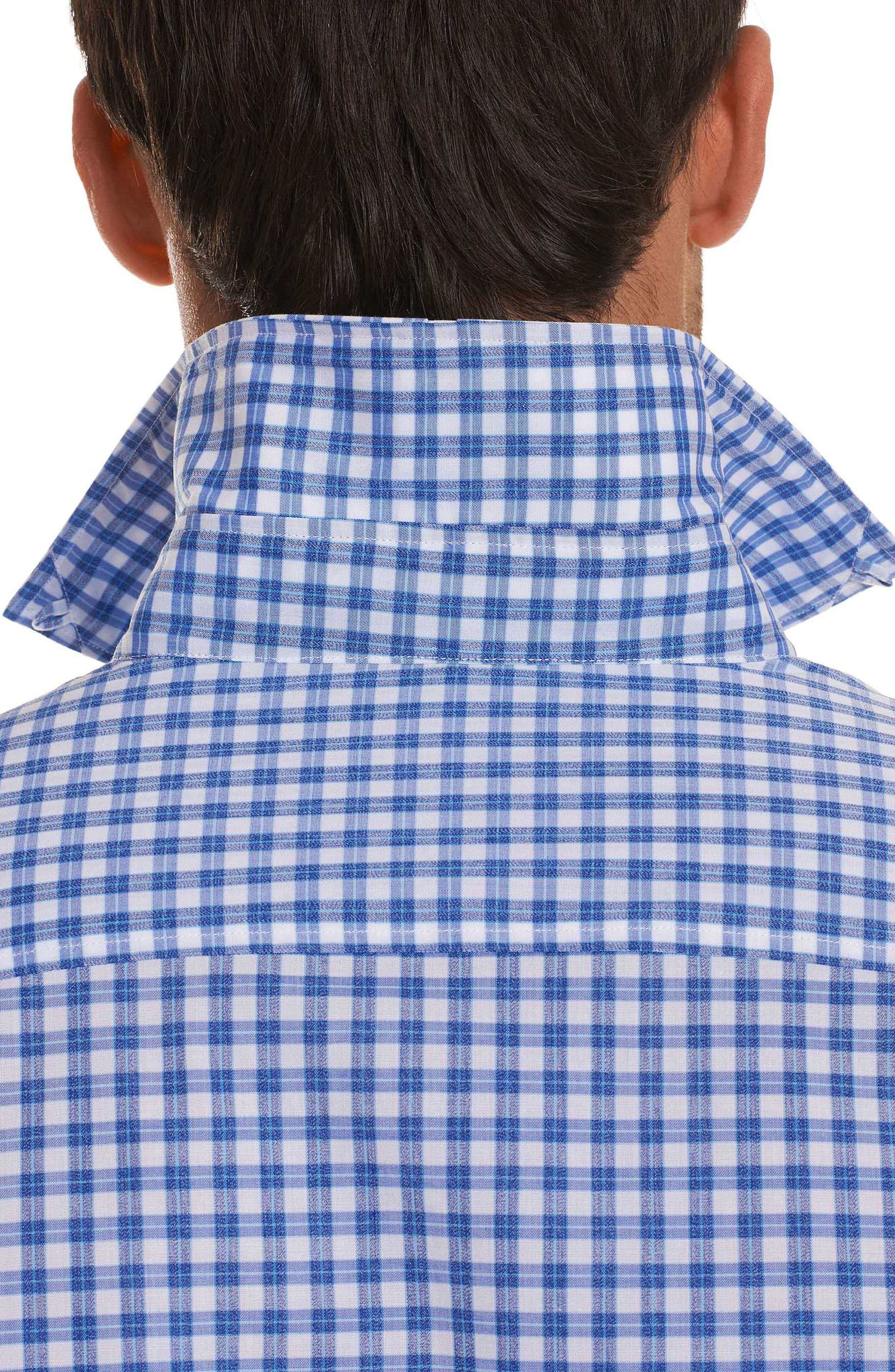 Rye Tailored Fit Check Sport Shirt,                             Alternate thumbnail 5, color,                             Blue