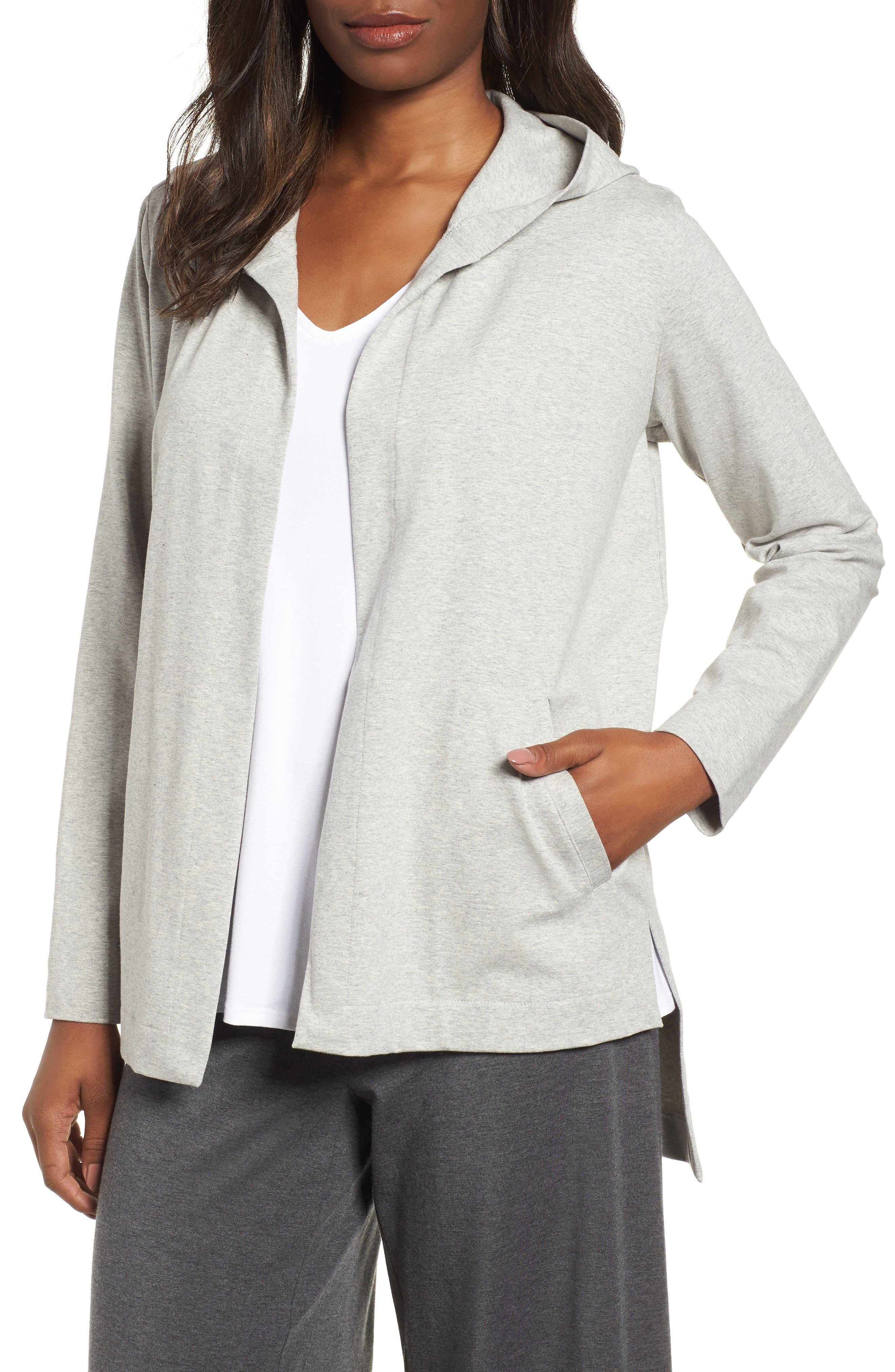 Hooded Stretch Organic Cotton Cardigan,                             Main thumbnail 1, color,                             Dark Pearl
