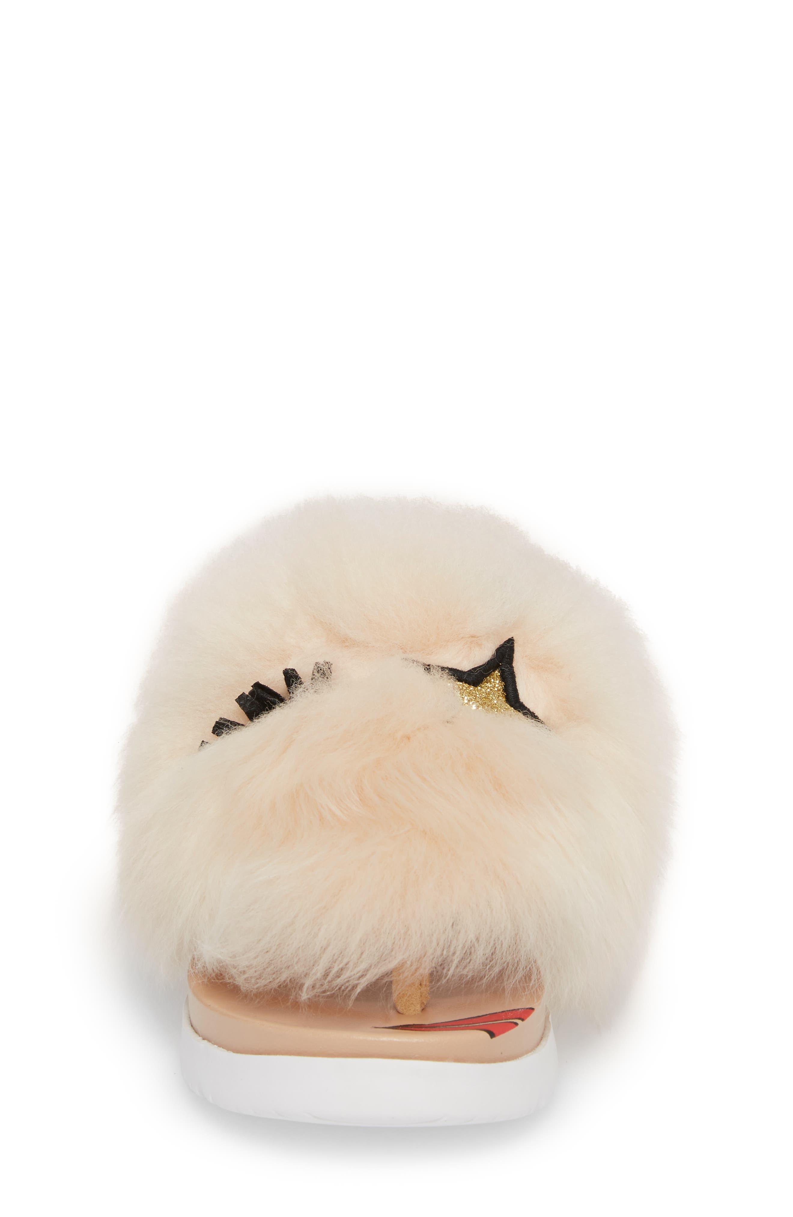 Punki Genuine Shearling Sandal,                             Alternate thumbnail 4, color,                             Natural/ Soft Ochre