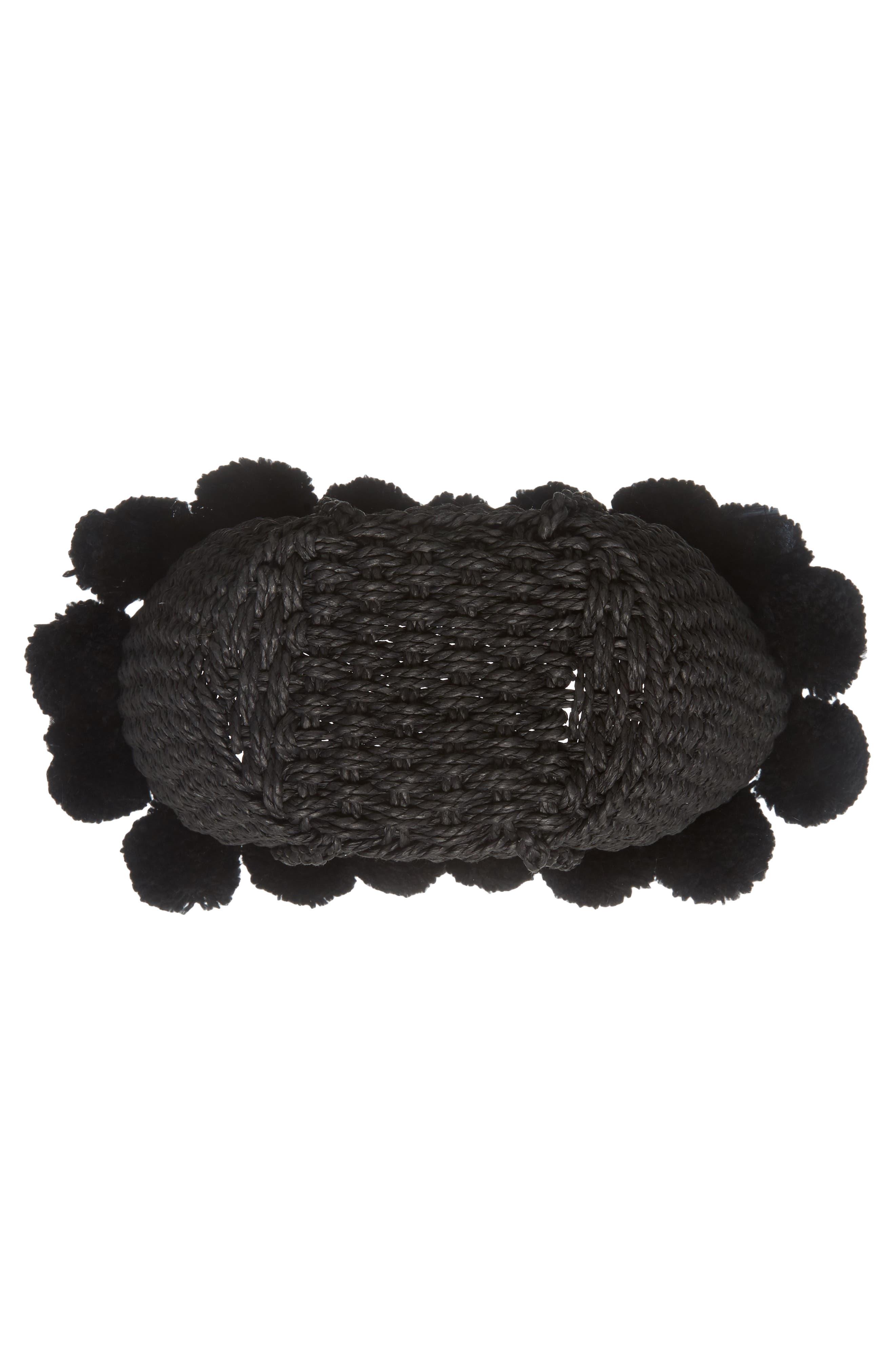 Sia Pom Straw Shopper Bag,                             Alternate thumbnail 6, color,                             Black