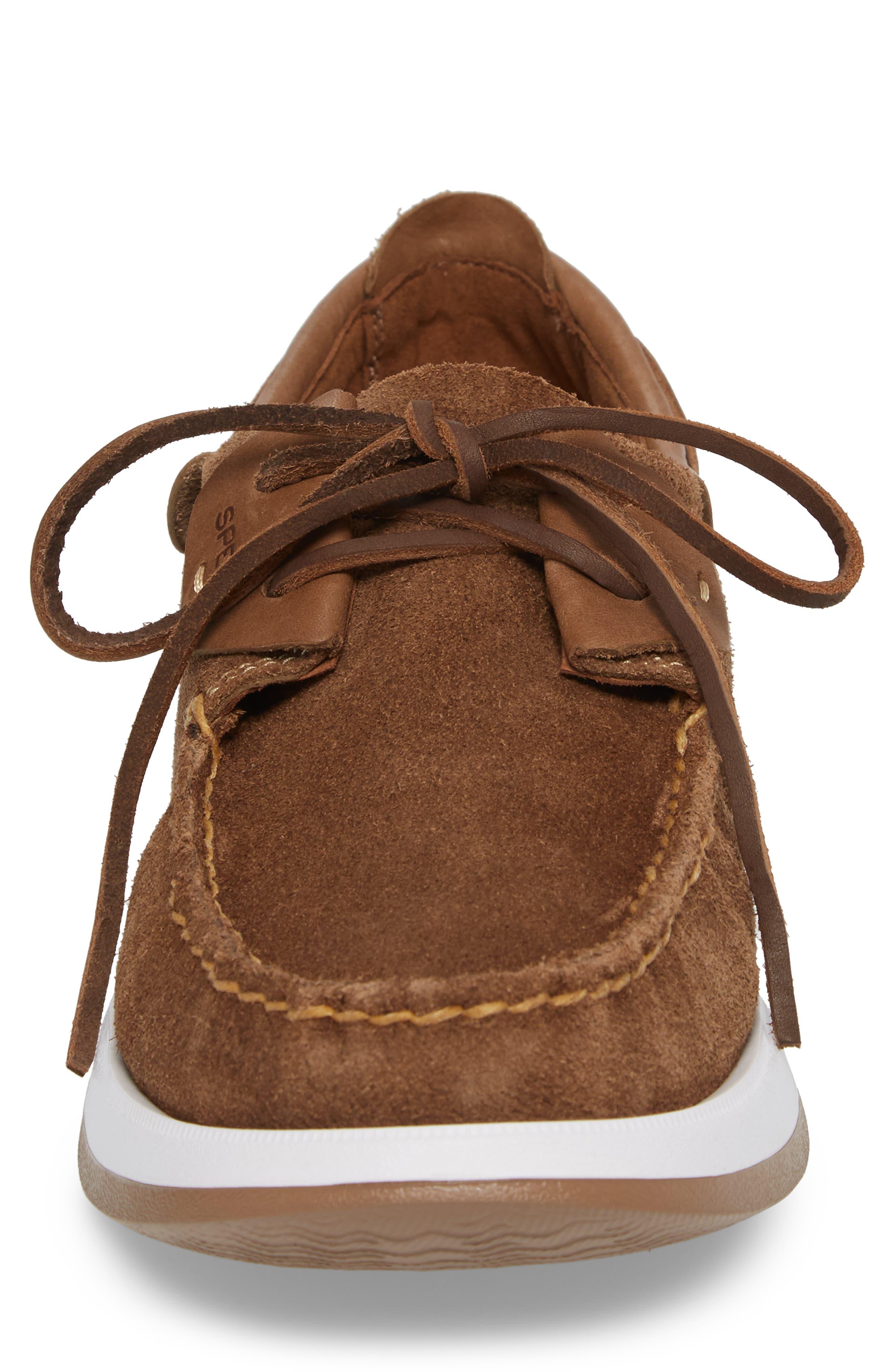 Caspian Boat Shoe,                             Alternate thumbnail 4, color,                             Tan Leather/ Suede