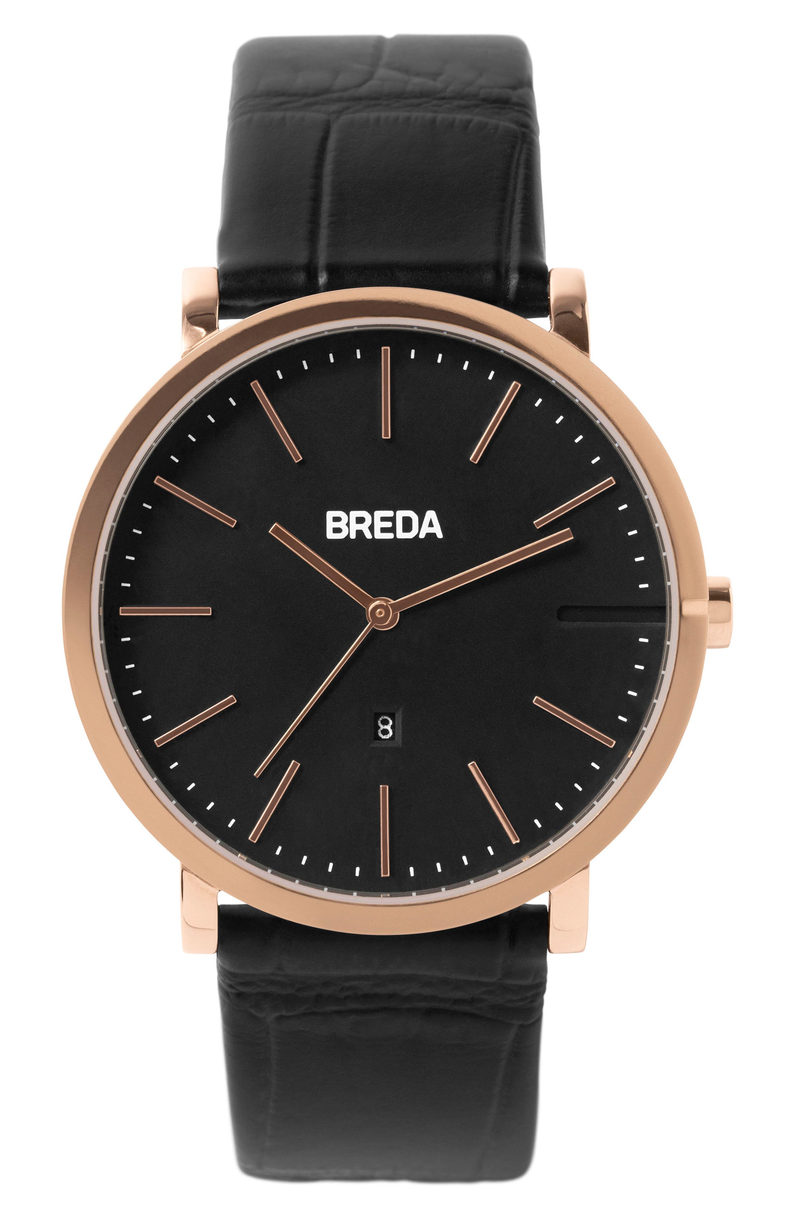 Breuer Leather Strap Watch, 39mm,                         Main,                         color, Black/ Rose Gold