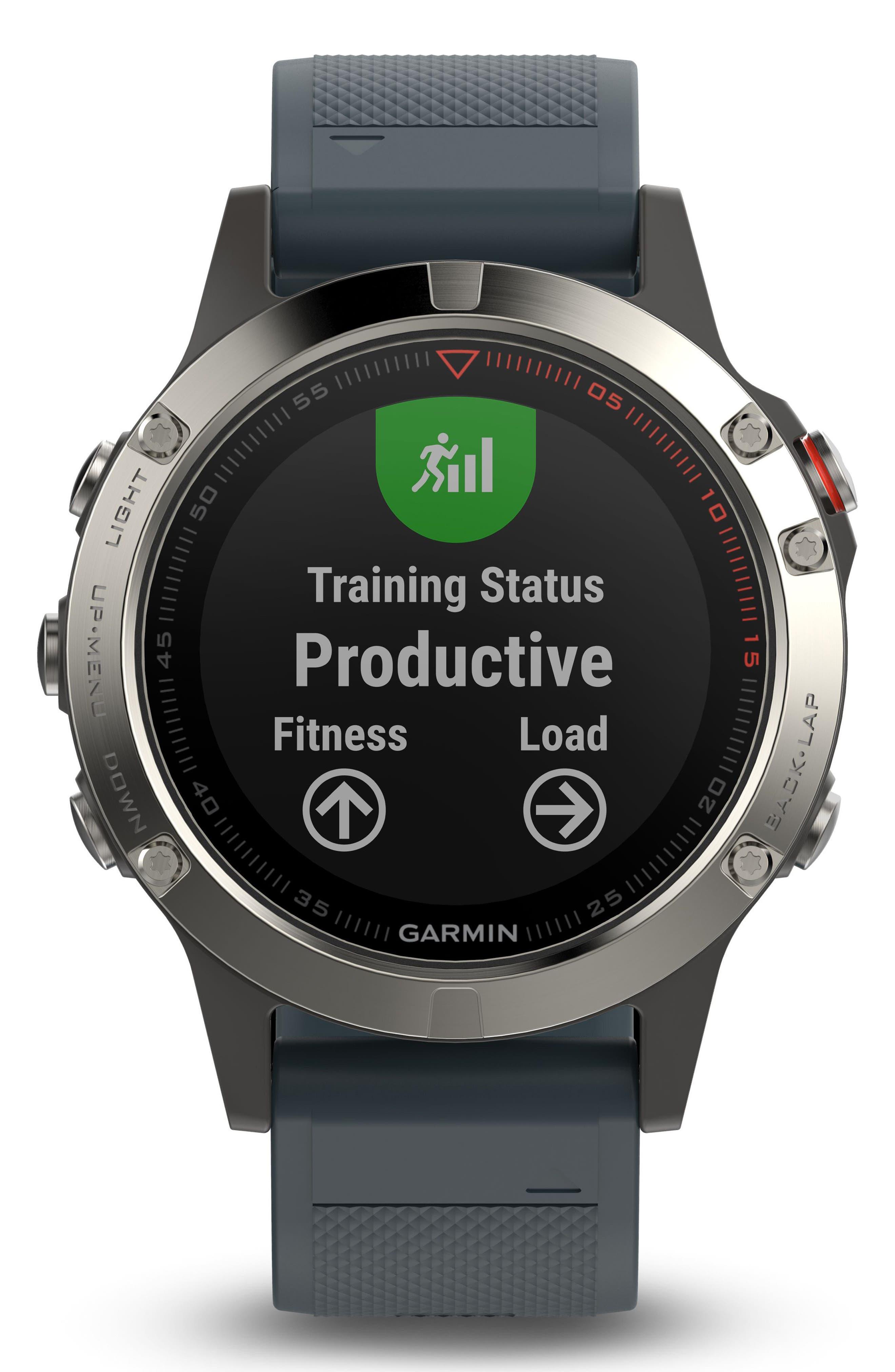 fenix<sup>®</sup> 5 Premium Multisport GPS Watch, 47mm,                             Alternate thumbnail 3, color,                             Granite Blue/ Silver
