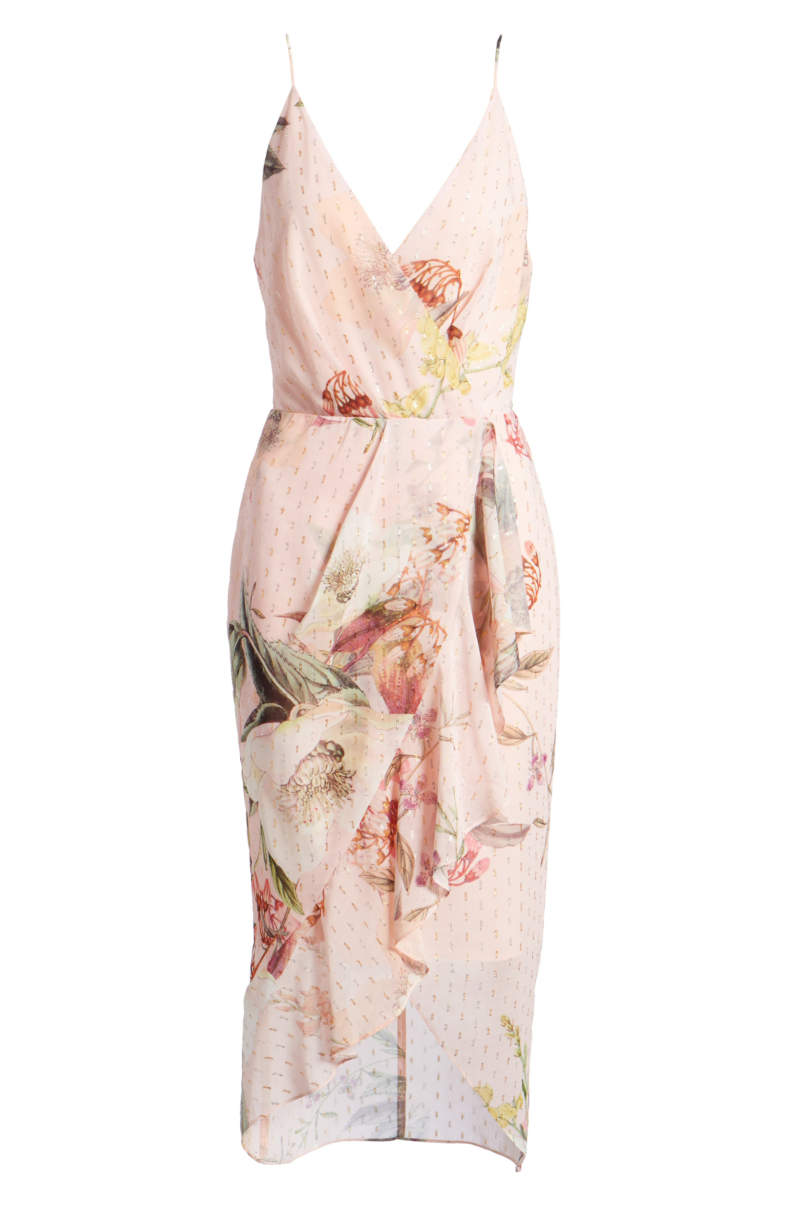Flora Fade Drape Dress,                             Alternate thumbnail 7, color,                             Print