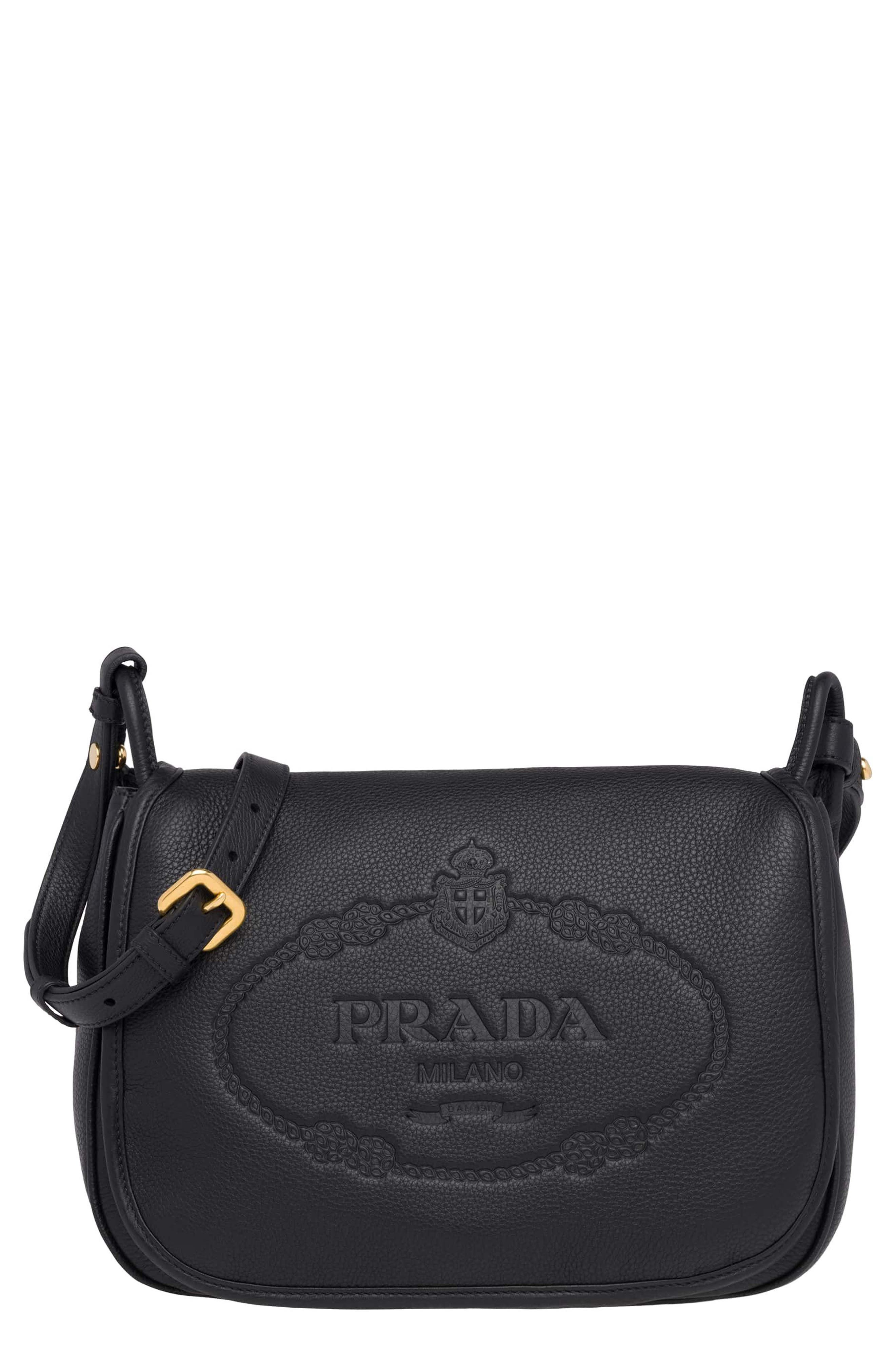 Prada Vitello Daino Heritage Logo Leather Crossbody Bag