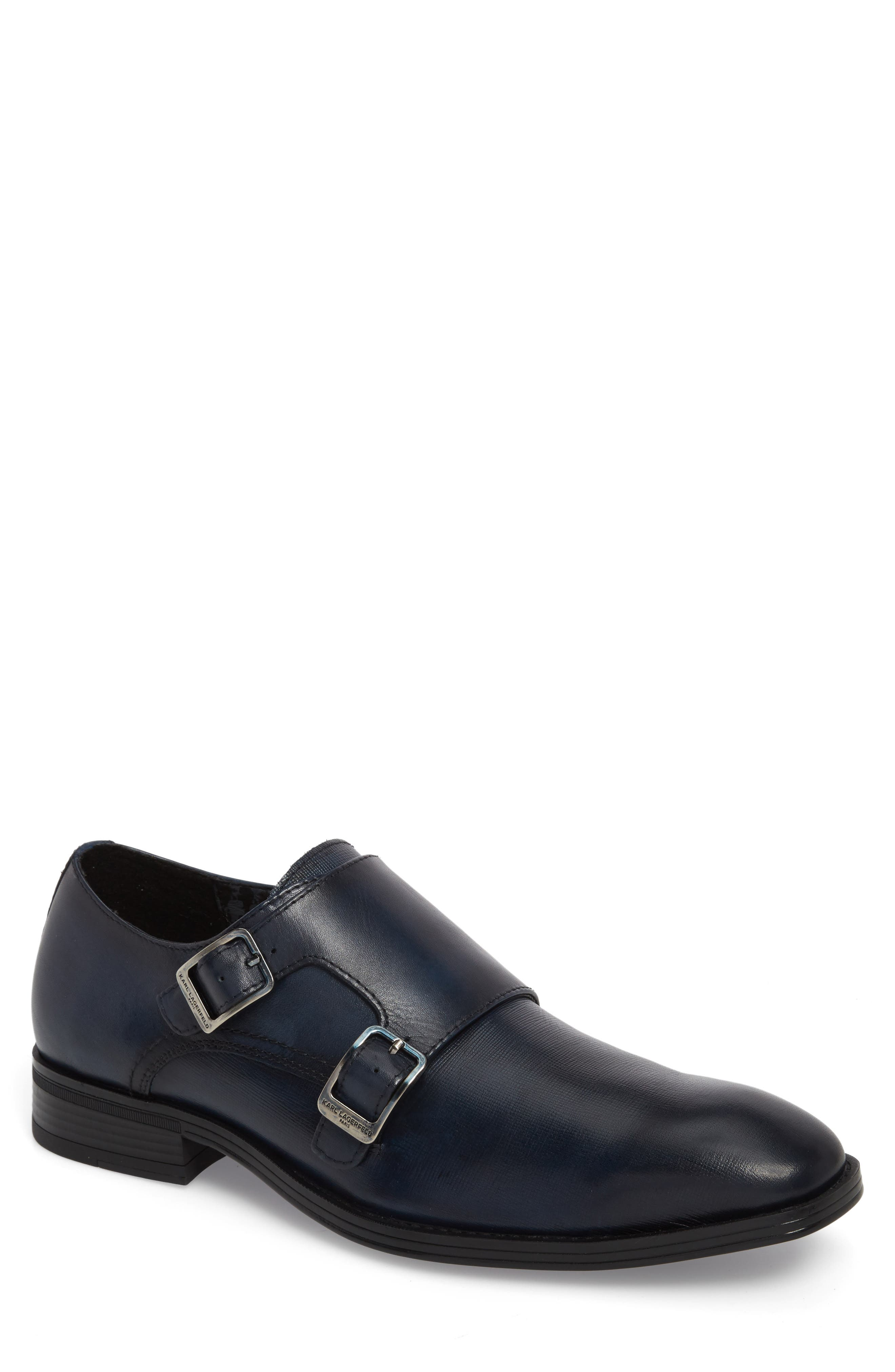 Karl Lagerfeld Double Strap Monk Shoe,                         Main,                         color, Navy