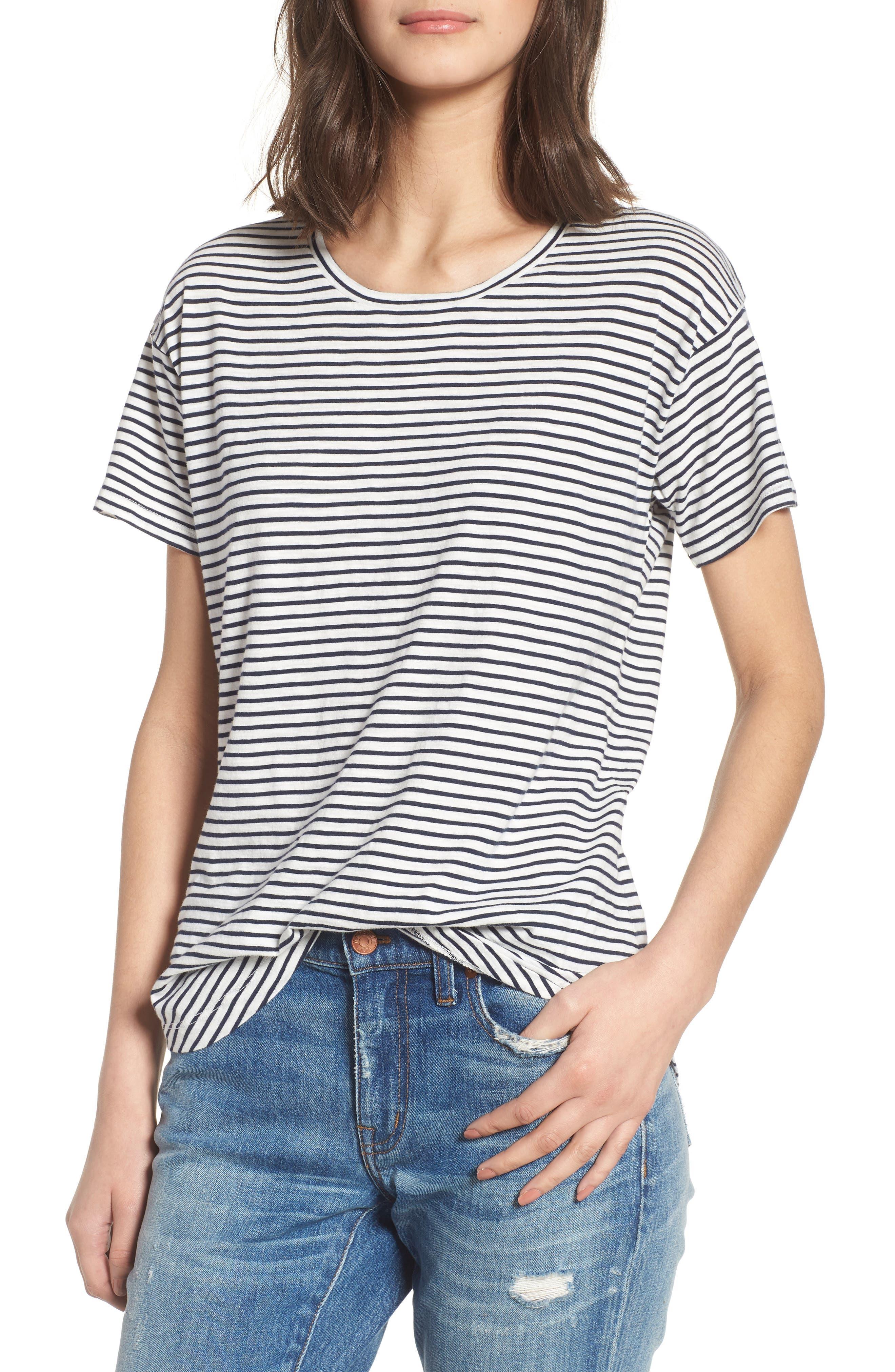 Whisper Cotton Stripe Crewneck Tee,                         Main,                         color, Deep Navy
