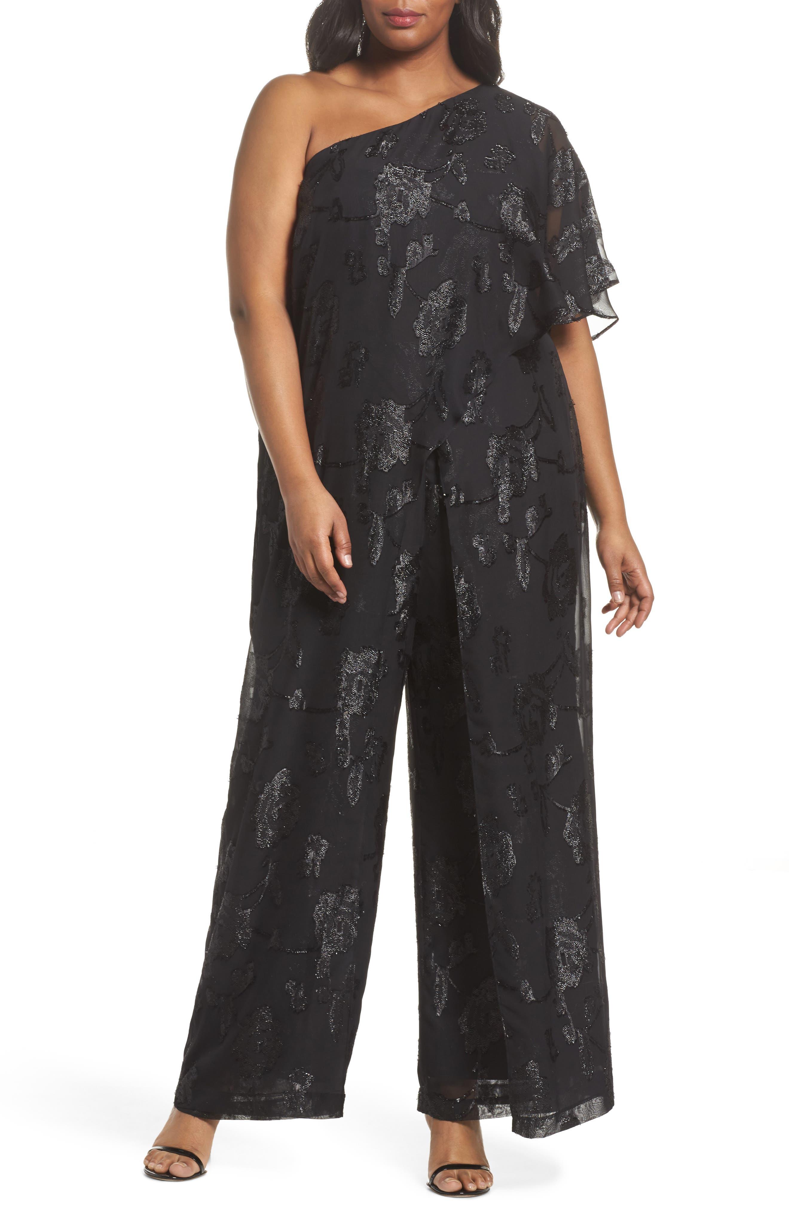 Floral Chiffon One-Shoulder Jumpsuit,                         Main,                         color, Black