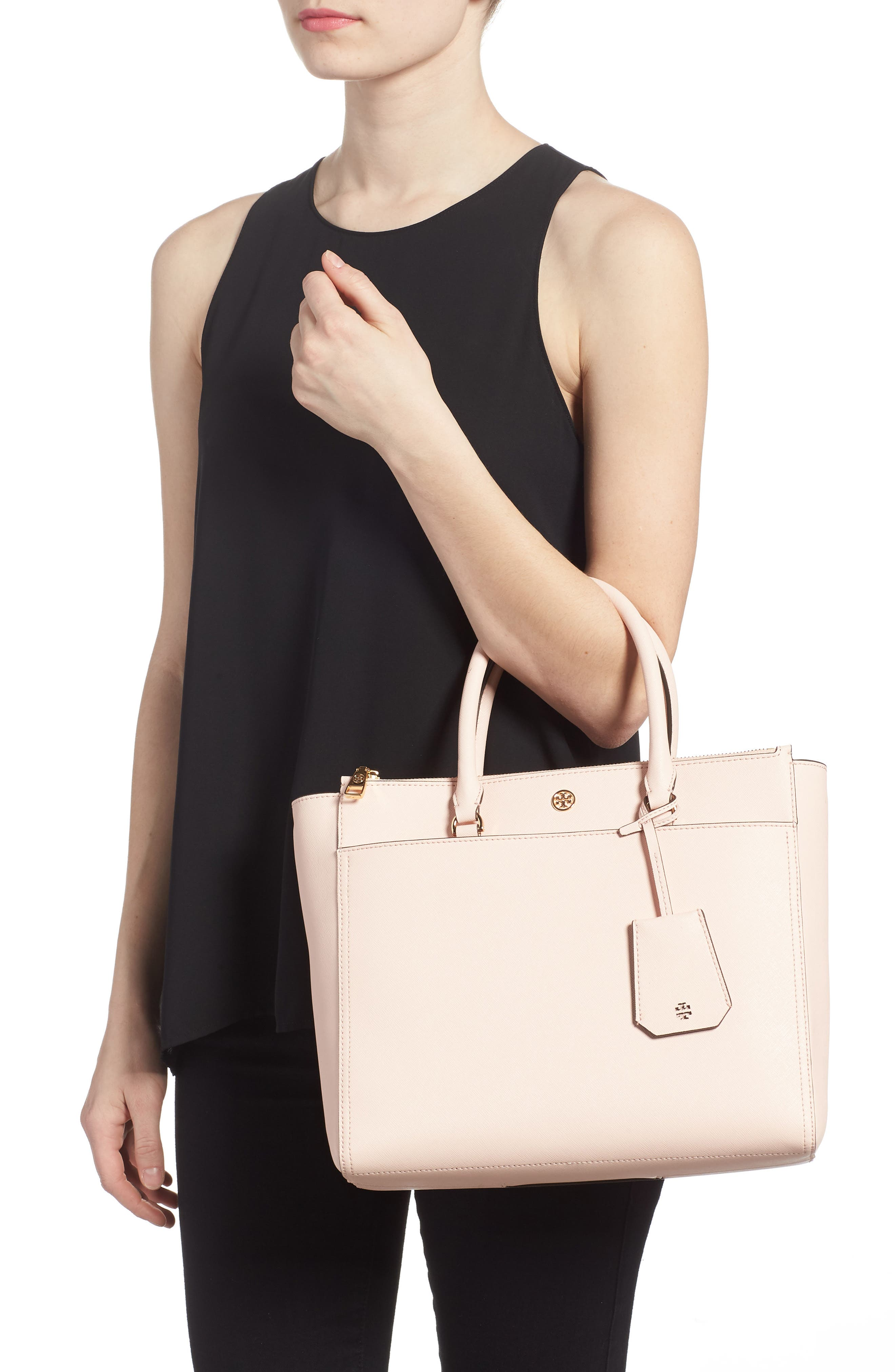 Robinson Double-Zip Leather Tote,                             Alternate thumbnail 2, color,                             Pale Apricot / Royal Navy