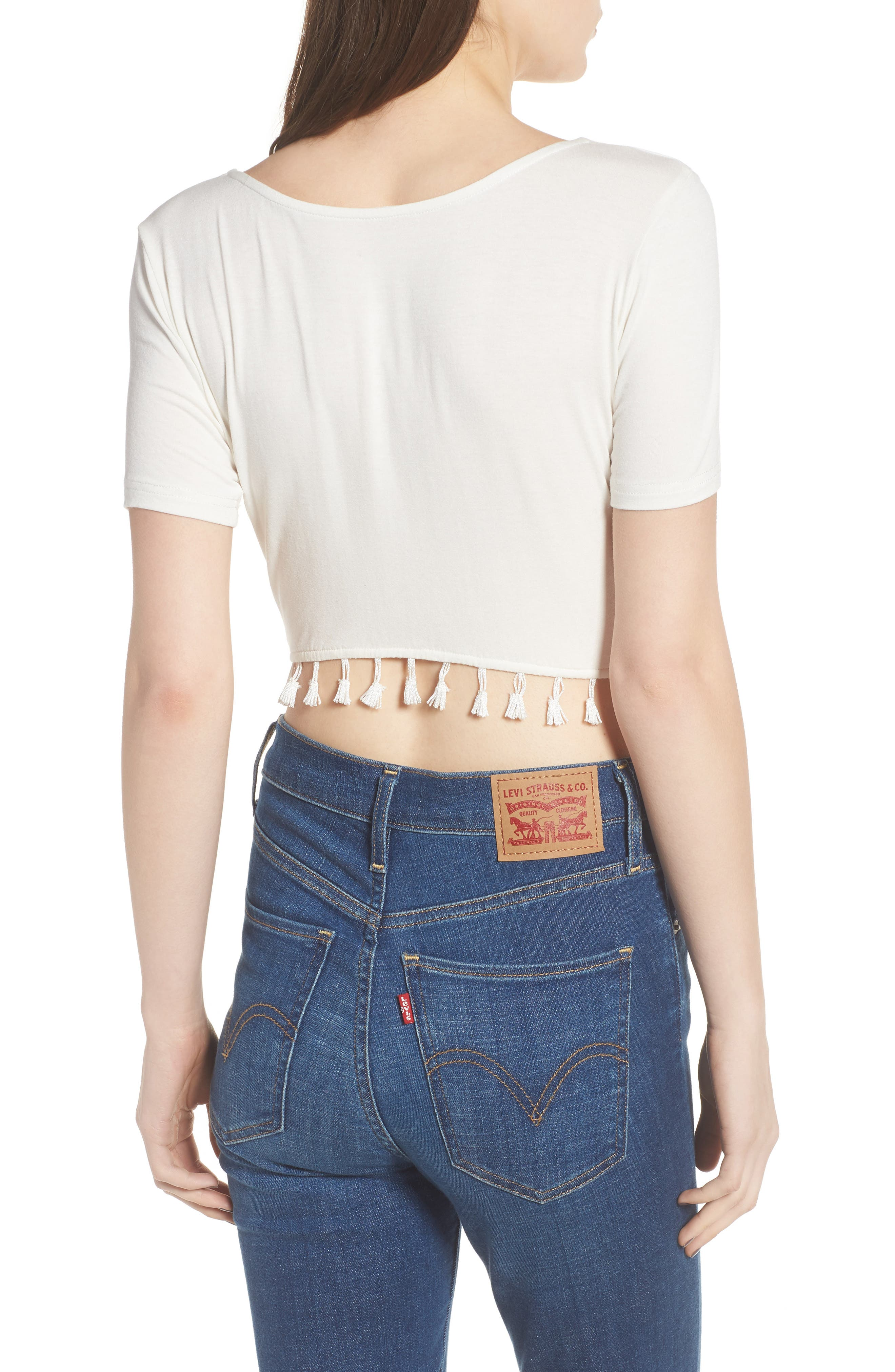Show It Off Tassel Crop Top,                             Alternate thumbnail 3, color,                             Ivory