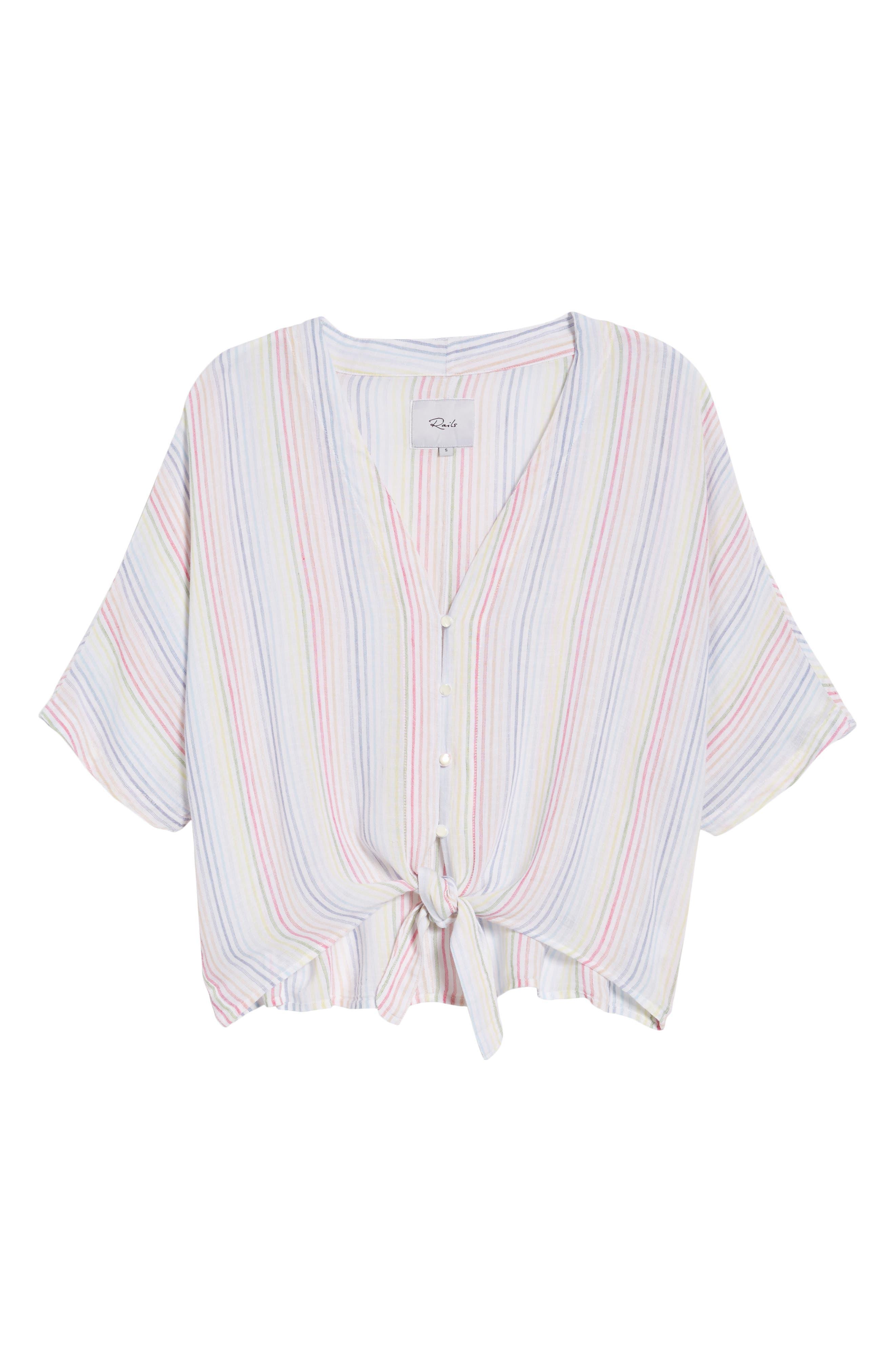 Thea Stripe Tie Waist Linen Blend Top,                             Alternate thumbnail 7, color,                             Isla Stripe