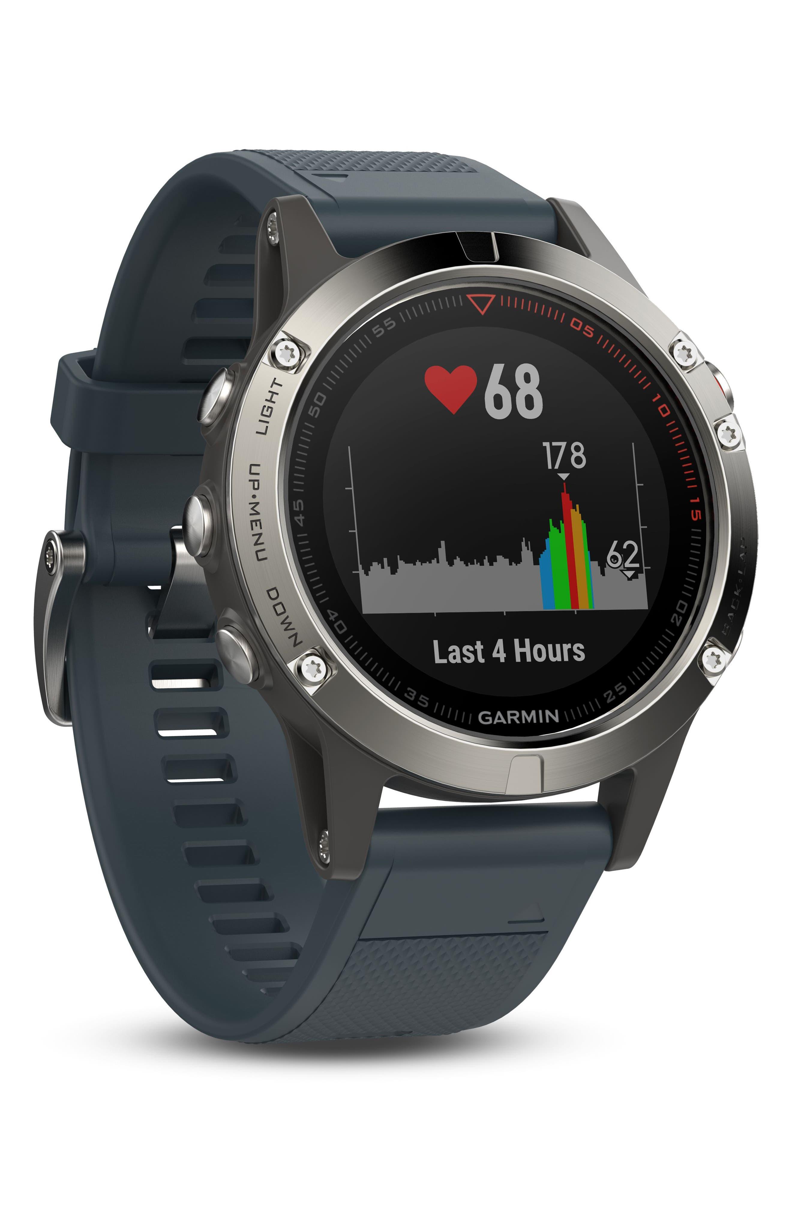 fenix<sup>®</sup> 5 Premium Multisport GPS Watch, 47mm,                             Alternate thumbnail 2, color,                             Granite Blue/ Silver