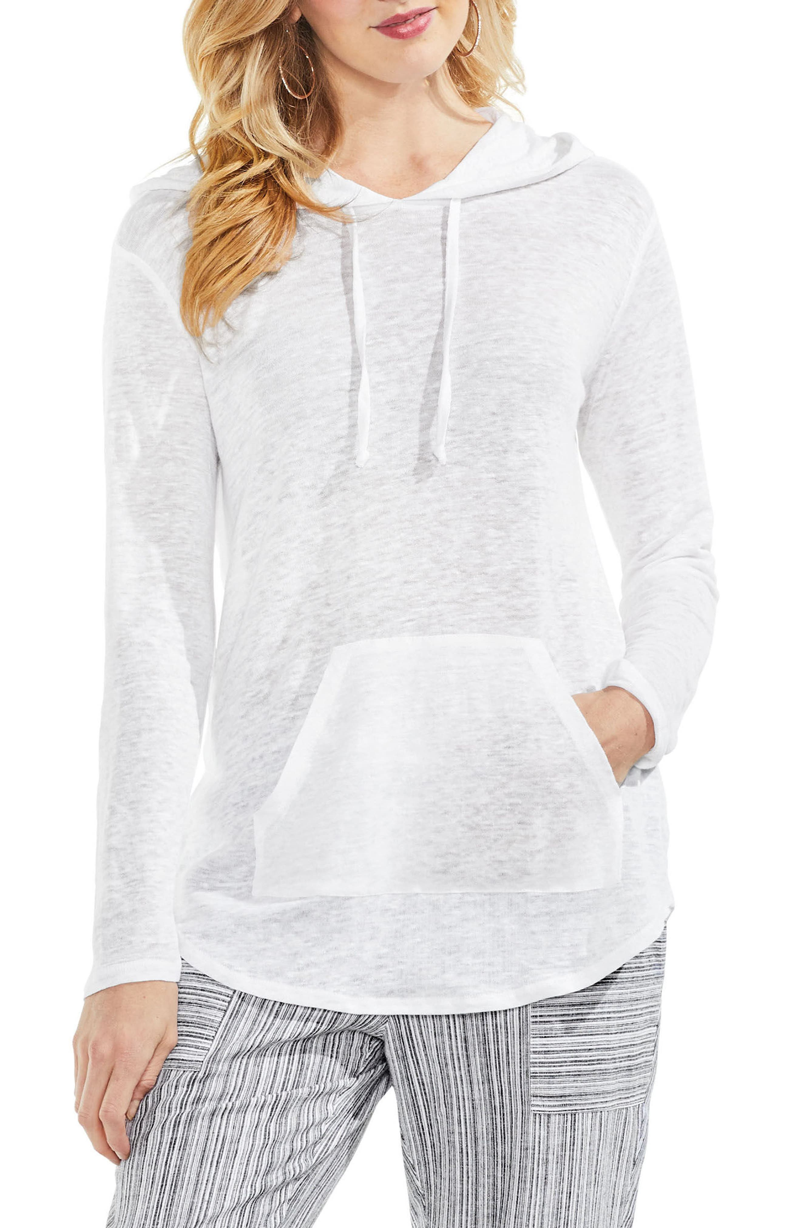 Linen Hoodie,                         Main,                         color, Ultra White