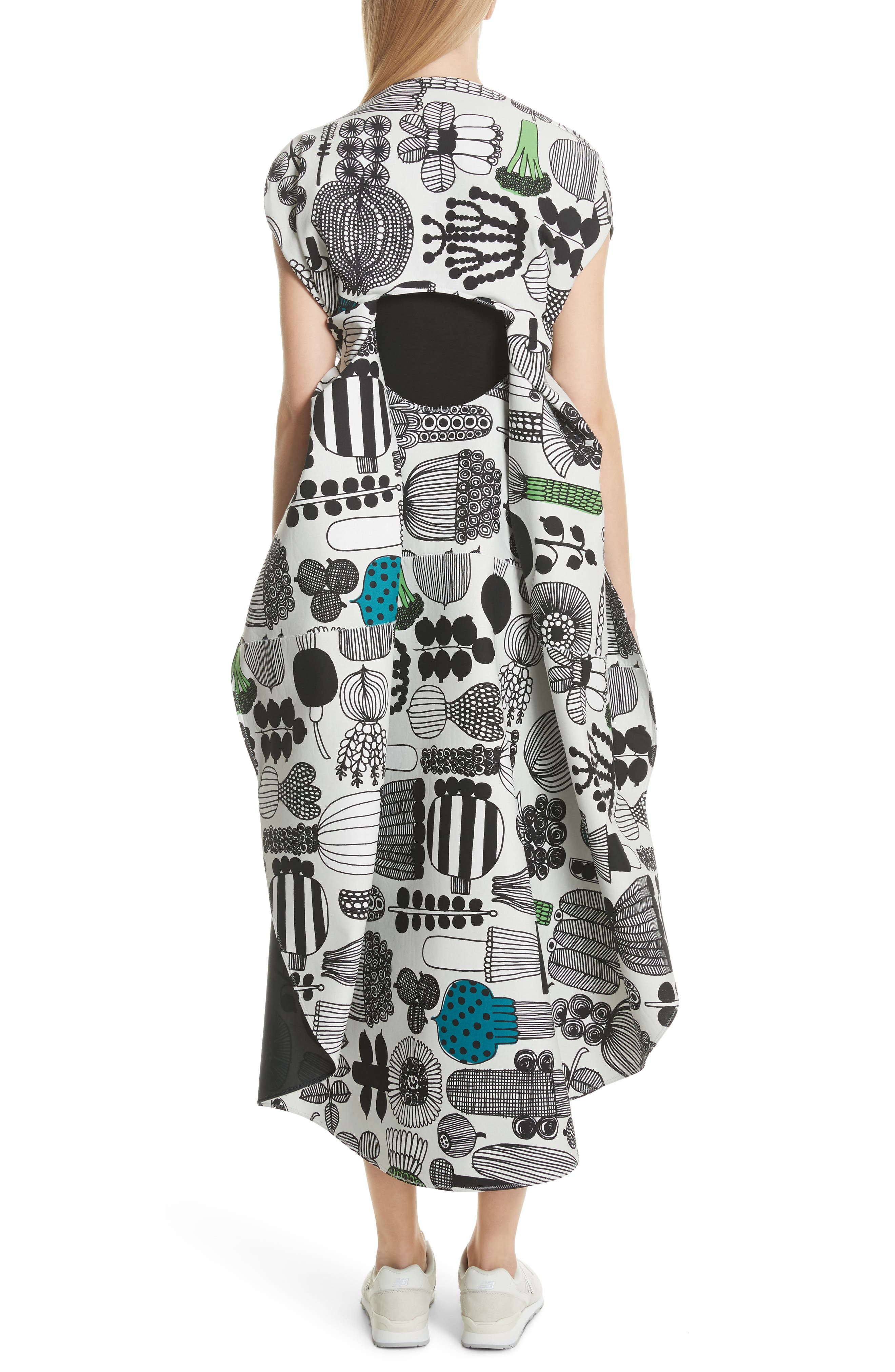 Vegetable Print Shift Dress,                             Alternate thumbnail 2, color,                             Gry/ Grn/ Blk