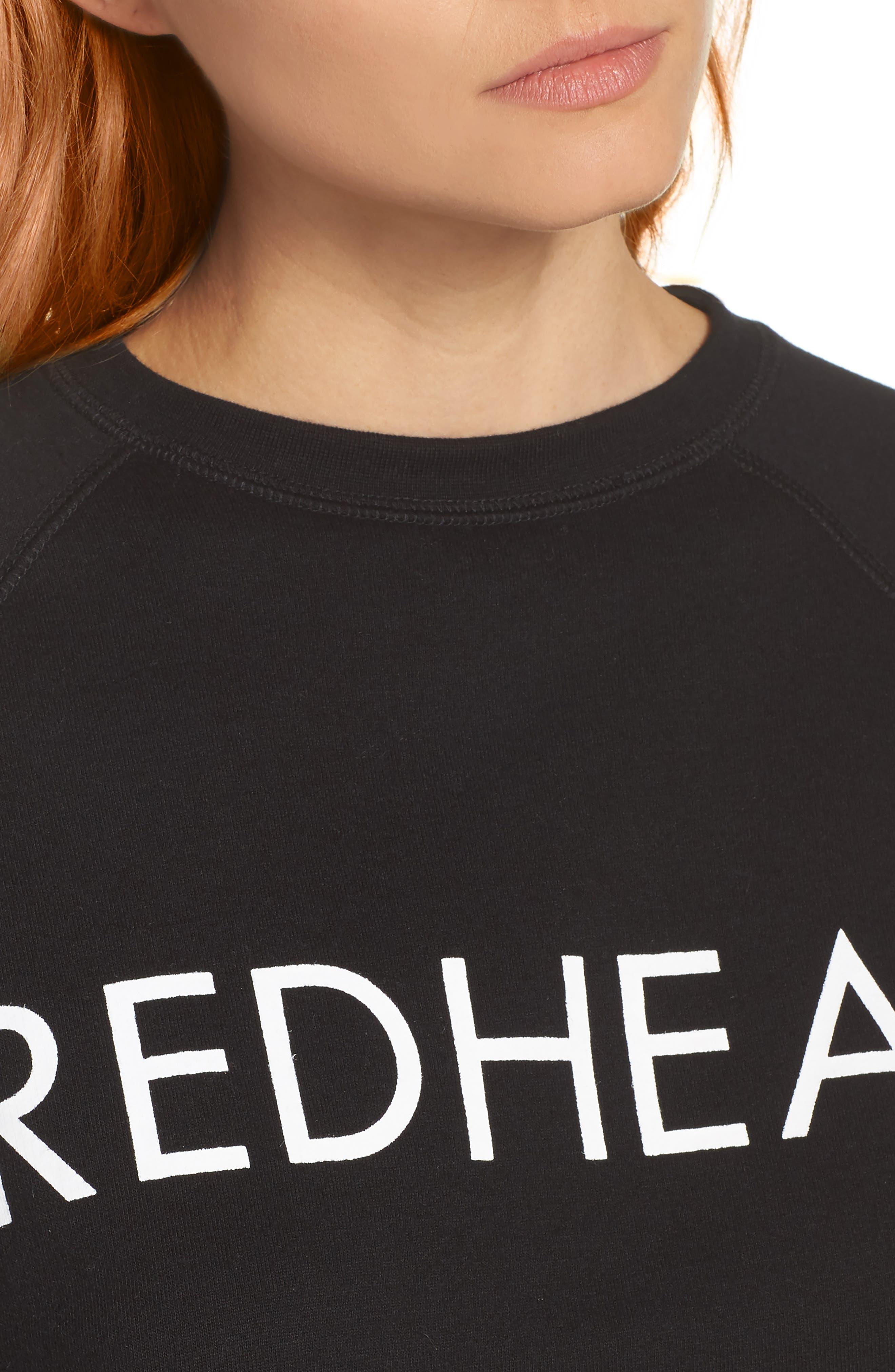 Redhead Raw Hem Sweatshirt,                             Alternate thumbnail 6, color,                             Black