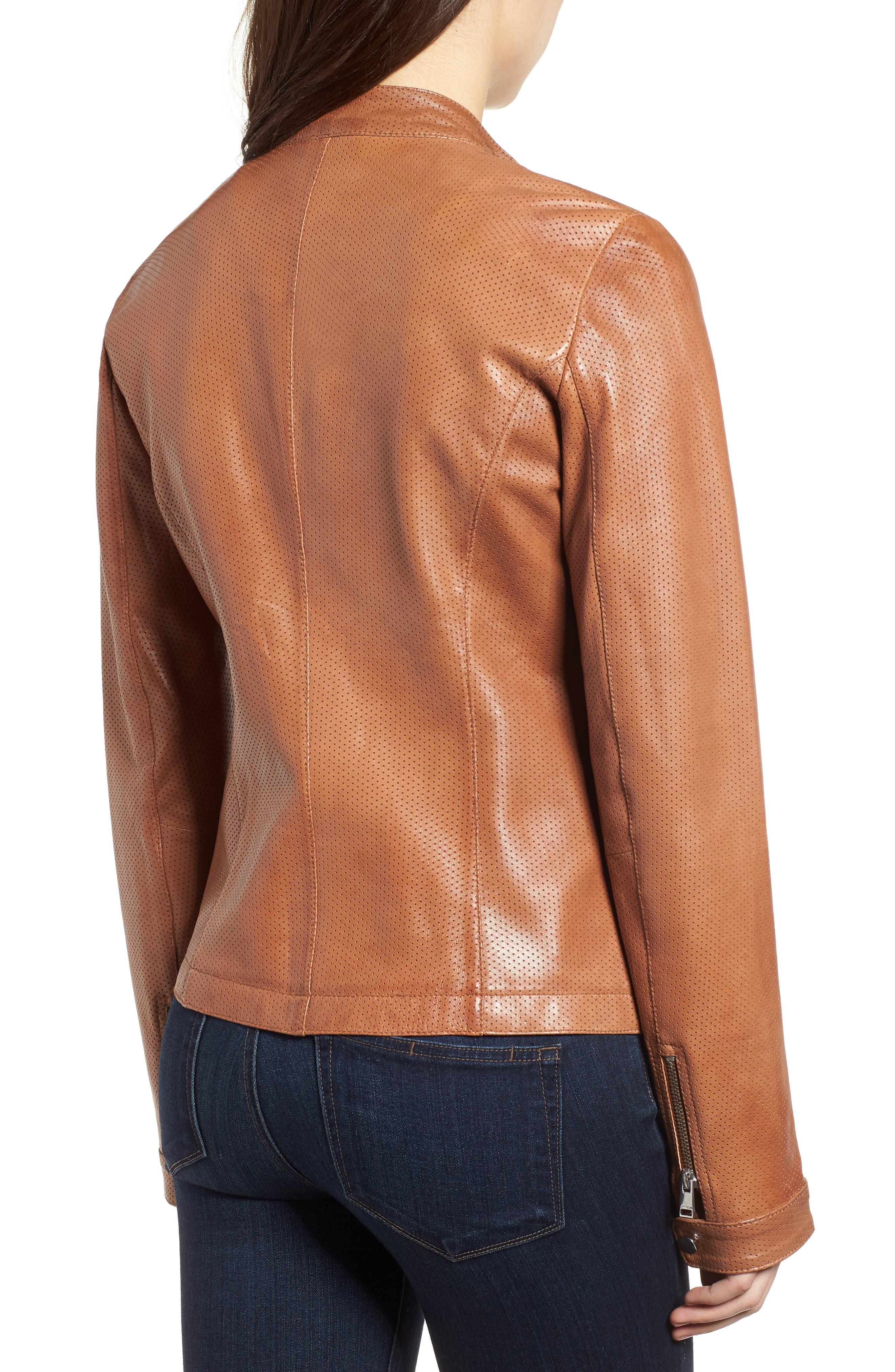 Perforated Leather Biker Jacket,                             Alternate thumbnail 2, color,                             Tan