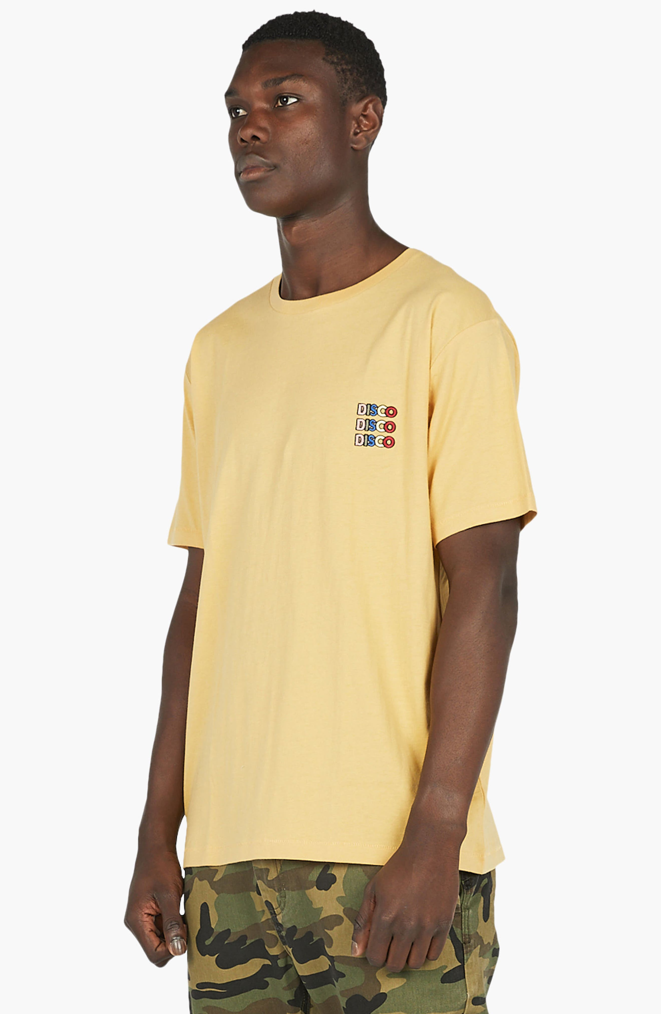 Disco Embroidered T-Shirt,                             Alternate thumbnail 4, color,                             Mustard