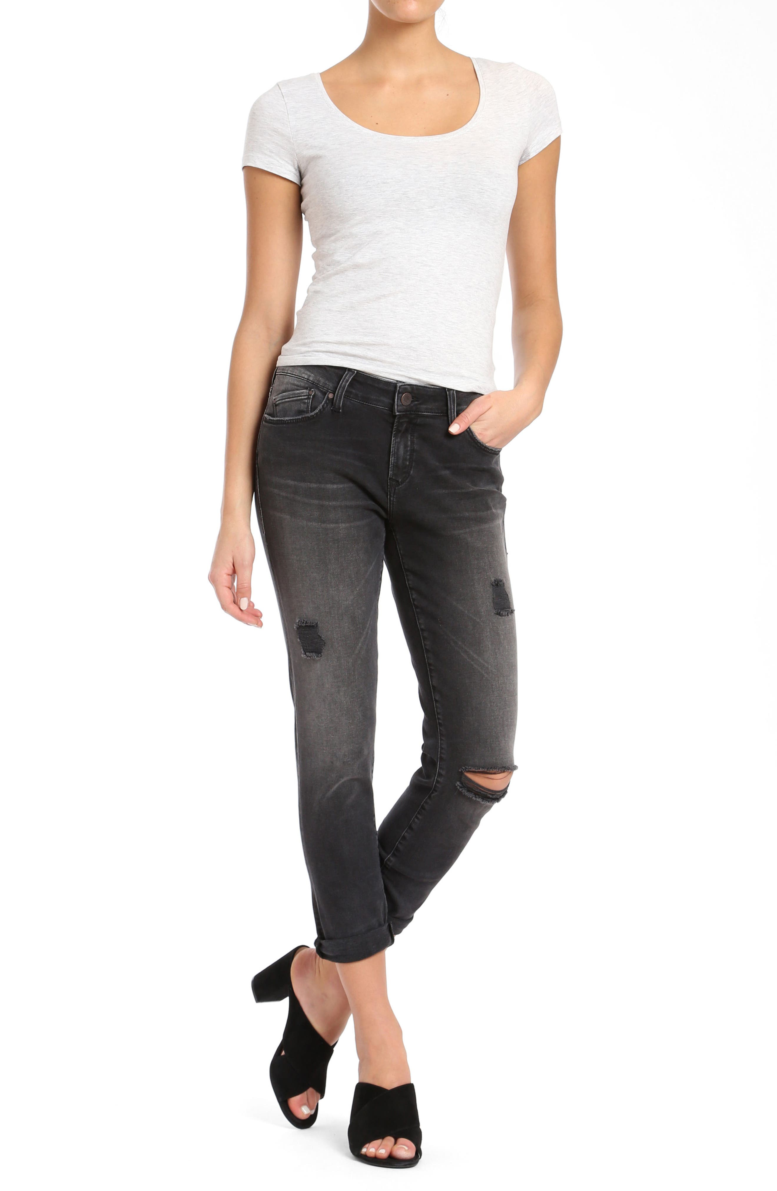 Alissa Super Skinny Ankle Jeans,                             Alternate thumbnail 2, color,                             Smoke Ripped Nolita