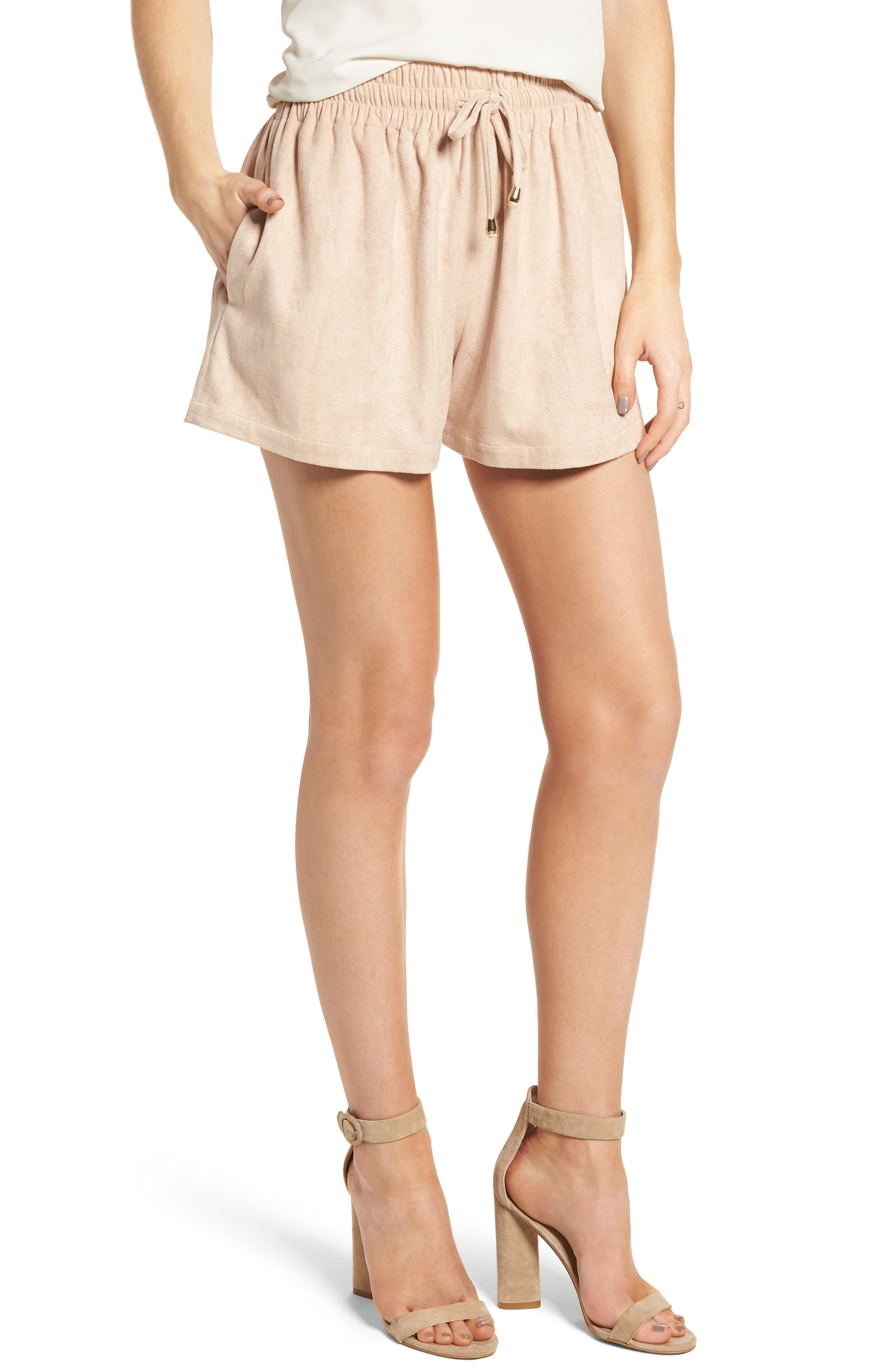 Bishop + Young Faux Suede Shorts,                         Main,                         color, Pink
