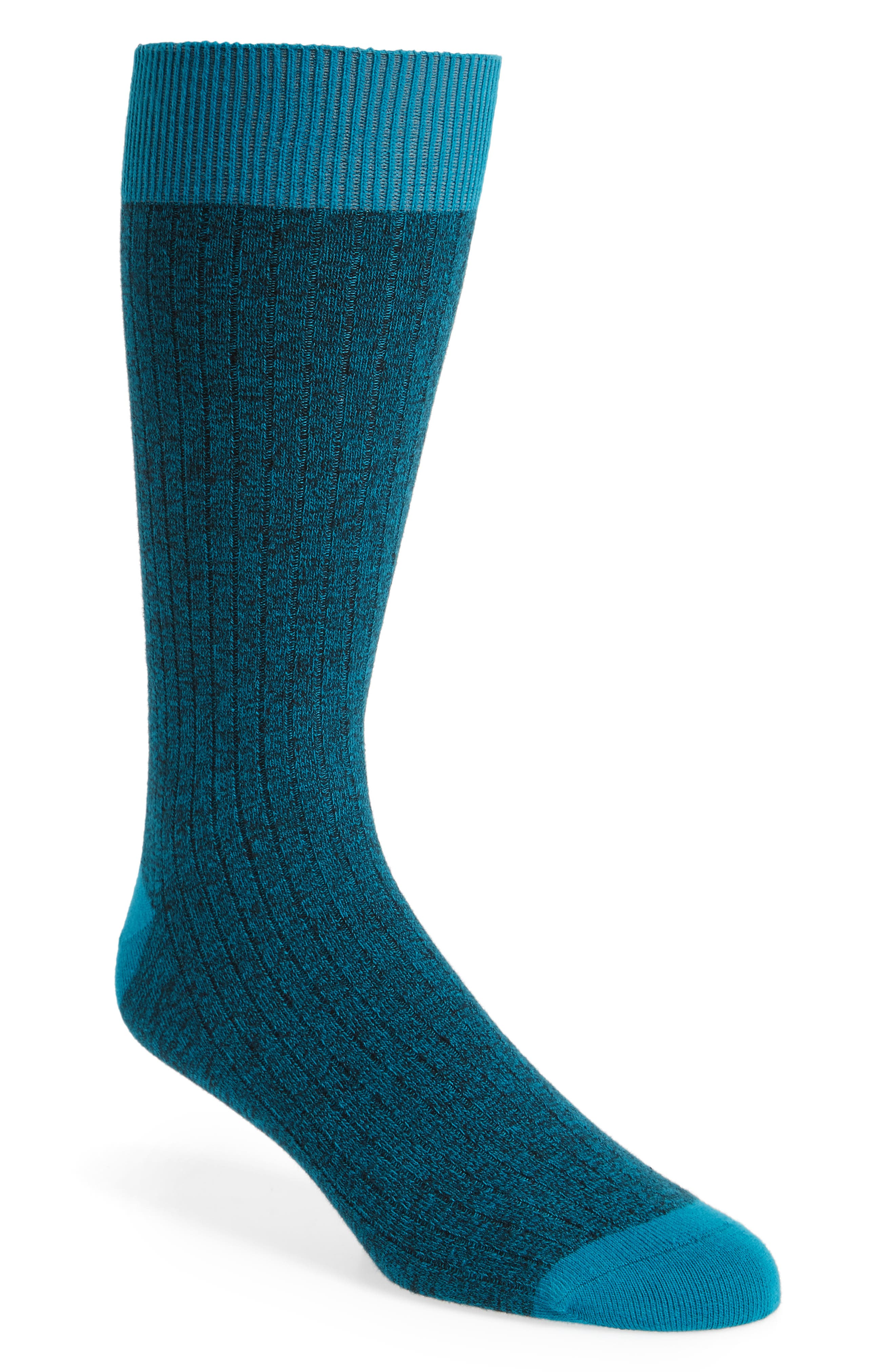 Polbray Ribbed Socks,                         Main,                         color, Teal