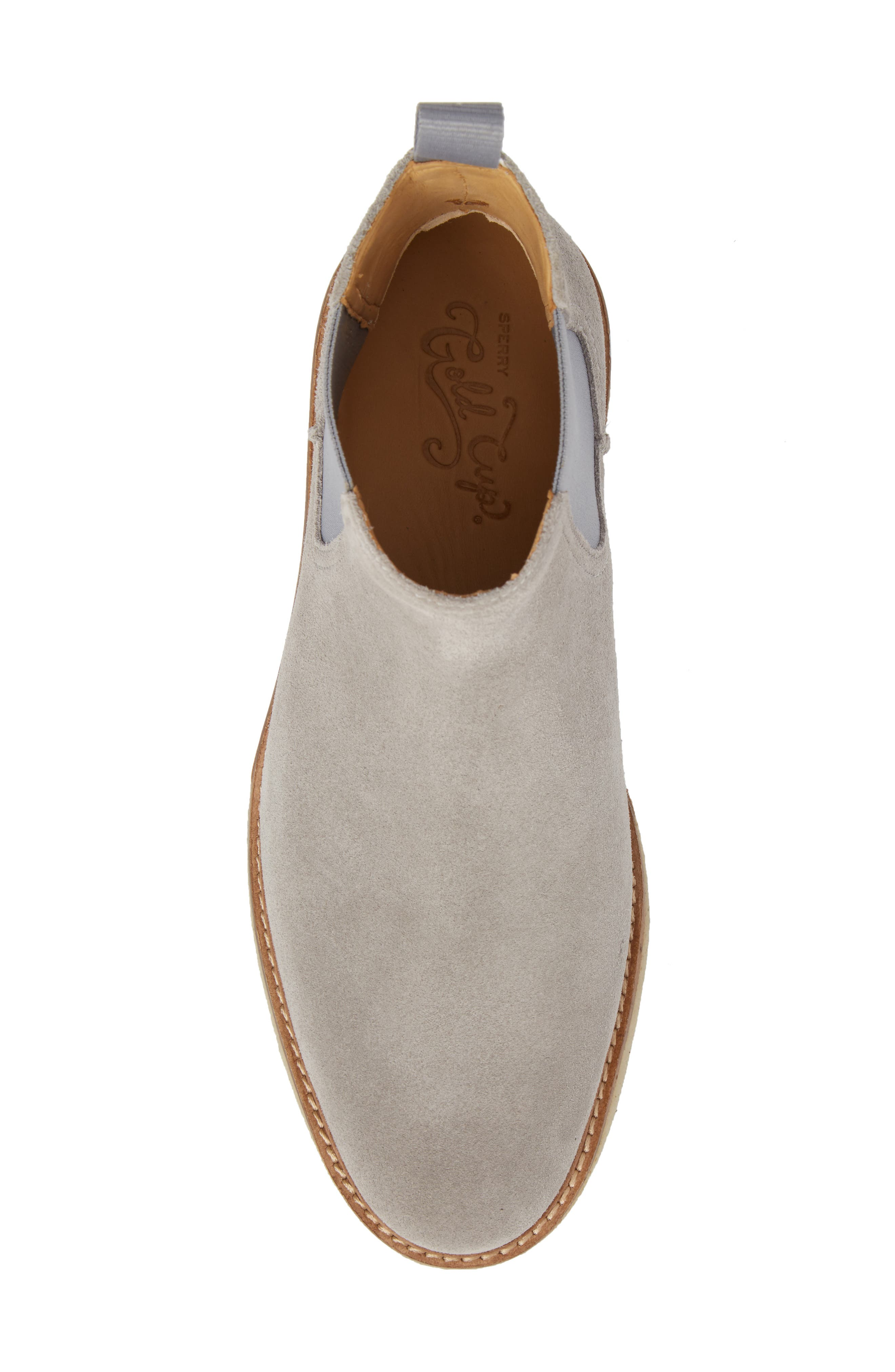 Gold Cup Crepe Chelsea Boot,                             Alternate thumbnail 5, color,                             Grey Leather/ Suede
