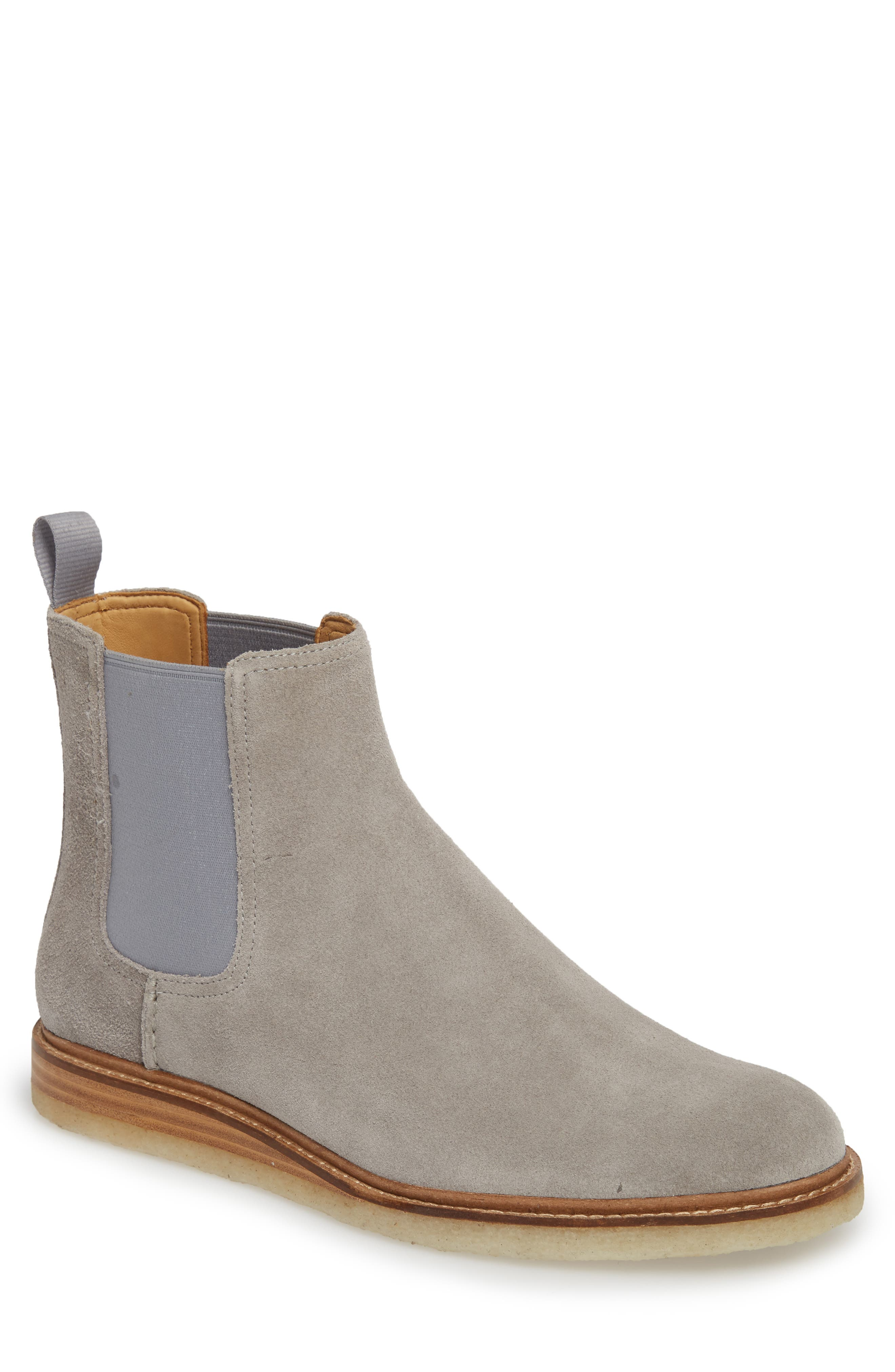 Gold Cup Crepe Chelsea Boot,                             Main thumbnail 1, color,                             Grey Leather/ Suede